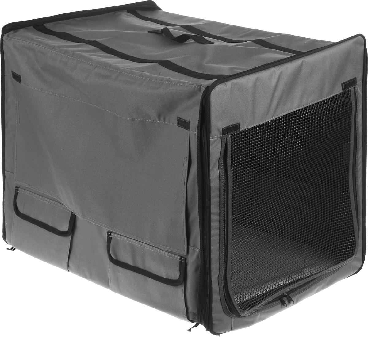 Клетка для животных Заря-Плюс, выставочная, цвет: серый, 75 х 60 х 50 смКТС2тсВыставочная палатка-клетка Заря-Плюс - трансформер, благодаря чему палатка легко и просто собирается и разбирается. На выставке вы самостоятельно соберете палатку за несколько минут, застегнув молнии с двух сторон палатки. Лицевая и обратная стороны палатки выполнены одинаково: - наполовину из сетки, которая при необходимости закрывается шторкой; - в открытом состоянии шторка фиксируется с помощью липучки; - имеется 2 больших кармана для мелочей. Одна из боковых частей палатки выполнена из сетки, которая пристегивается с помощью молнии. В открытом состоянии сетку можно закрепить с помощью липучек. Другая боковая часть палатки выполнена наполовину из сетки, которая при необходимости закрывается шторкой. В открытом состоянии шторка фиксируется с помощью липучки. С этой стороны палатки имеется большой карман. В комплект палатки входит съемное дно из ДВП и меховой матрац; при необходимости матрац легко ...