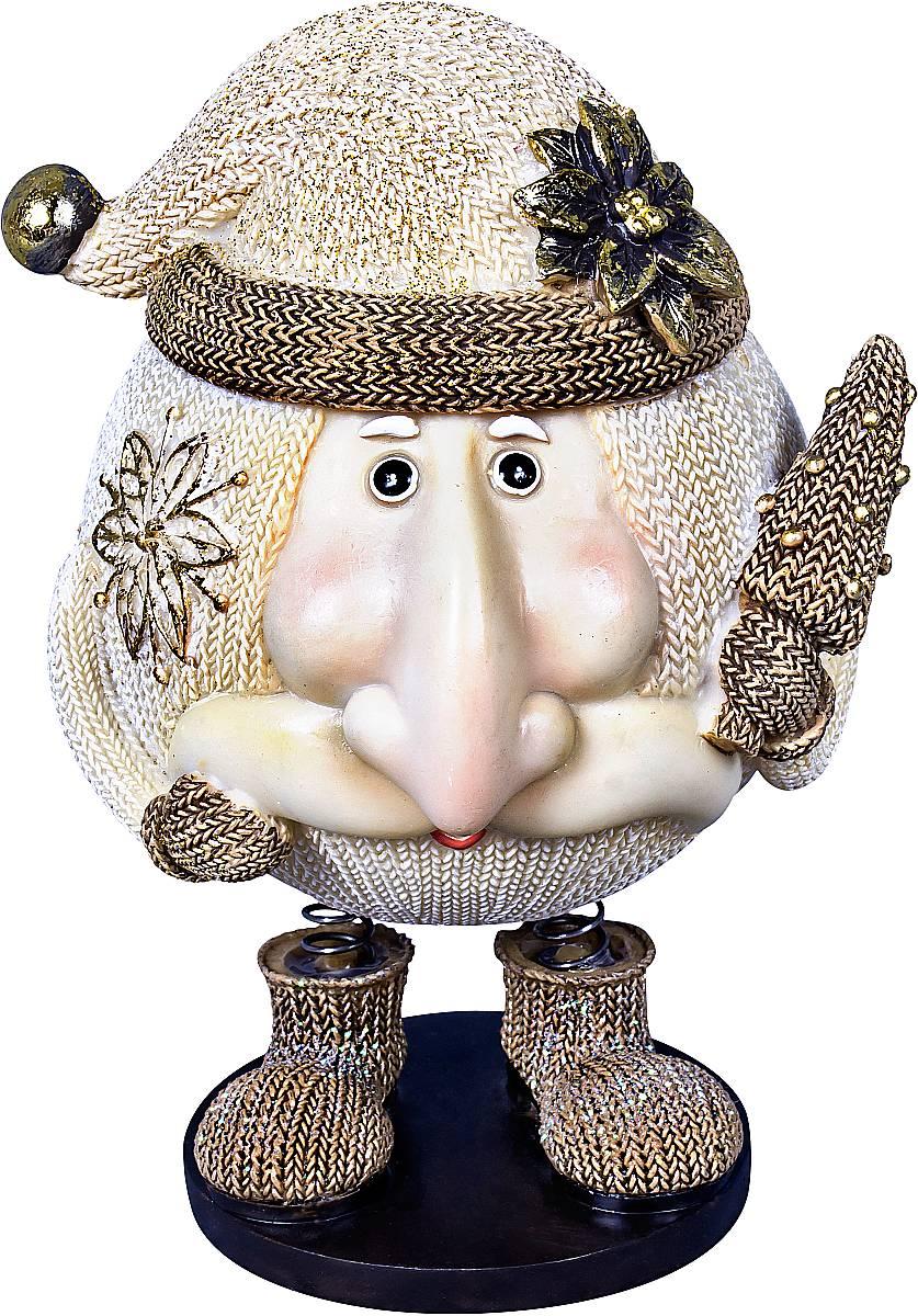Статуэтка Mister Christmas Дед Мороз, цвет: белый, золотистый, высота 14 смSM-6BСтатуэтка Mister Christmas Дед Мороз выполнена из полистоуна в виде забавного Деда Мороза на пружинках. Она привлекает к себе внимание и буквально умиляет, заставляя улыбнуться. Такой сувенир станет отличным подарком родным или друзьям на Новый год, а также он украсит интерьер вашего дома или офиса. Высота статуэтки: 14 см.