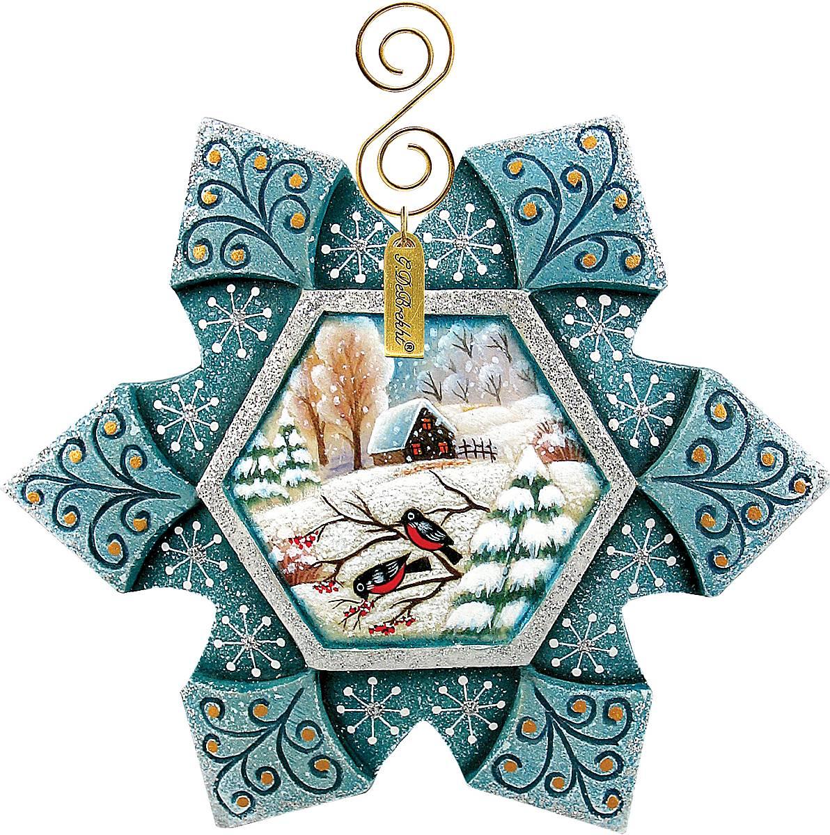 Украшение новогоднее подвесное Mister Christmas Снежинка, коллекционное, диаметр 11 смUS 610217Новый вод, в первую очередь, ассоциируется с зимой. А зима - с сугробами и падающими с неба пушистыми снежинками. Украшение Mister Christmas Снежинка будет изящно смотреться на фоне зеленой хвои, будь она настоящей или искусственной. Изделие выполнено из полистоуна и представляет собой объемную снежинку с текстурной фактурой и блестками разных размеров. На еловой ветке она фиксируется благодаря специальной петельке, сделанной из прочной веревочки. Новогоднее украшение Mister Christmas Снежинка оформит интерьер вашего дома или офиса в преддверии Нового года. А также станет отличным решением новогоднего подарка для ваших друзей и коллег.