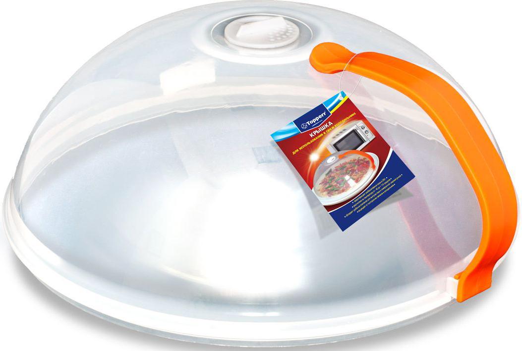 Крышка Topperr для СВЧ, с ручкой3428Крышка для использования в СВЧ и холодильнике - Предотвращает разбрызгивания жира в СВЧ - Защищает от посторонних запахов в холодильнике - Изготовлена из пищевого пластика - Рассчитана на температуру от -40 до +110 градусов - Обладает удобным клапаном для выпуска пара и комфортной широкой ручкой - Позволяет равномерно разогревать продукт - Не использовать в духовых шкафах газовых и электрических печей, а также в режиме гриль в СВЧ-печах. Диаметр - 26 см Высота - 11 см