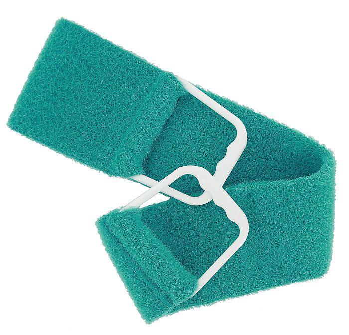 Riffi Мочалка-пояс, двухсторонняя, цвет: бирюзовый. 727PS0060Двухсторонняя мочалка-пояс Riffi, обладающая активным пилинговым действием, тонизирует, массирует и эффективно очищает вашу кожу. Мягкой стороной хорошо намыливать тело и наносить на него косметические средства после душа. Жесткую сторону пояса используют для тонизирующего массажа кожи. Для удобства применения мочалка снабжена двумя пластиковыми ручками.Благодаря отшелушивающему эффекту мочалки-пояса, кожа освобождается от отмерших клеток, становится гладкой, упругой и свежей. Интенсивный и пощипывающе свежий массаж тела с применением Riffi стимулирует кровообращение, активирует кровоснабжение, способствует обмену веществ, что в свою очередь позволяет себя чувствовать бодрым и отдохнувшим после принятия душа или ванны.Riffi регенерирует кожу, делает ее приятно нежной, мягкой и лучше готовой к принятию косметических средств. Приносит приятное расслабление всему организму. Борется со спазмами и болями в мышцах, предупреждает образование целлюлита и обеспечивает омолаживающий эффект. Моет легко и энергично. Быстро сохнет. Состоит из 65 % полиэстера и 35% полиэтилена.Гипоаллергенная.Товар сертифицирован.