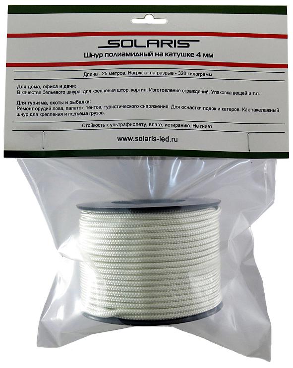 Шнур полиамидный Solaris S6303, на катушке, 4 мм х 25 м, цвет: белыйS6303Прочный многоцелевой плетеный шнур из полиамида, выдерживает нагрузку на разрыв 320 кг. Для удобства использования шнур намотан на катушку. Диаметр шнура 4 мм, длина 25 метров. Свойства и конструкция полиамидного шнура: Стойкость к солнечному излучению (ультрафиолет), влаге, истиранию, воздействию насекомых. Не подвержен гниению и плесени. Диапазон рабочих температур от -60 до +120 °С. Шнур диаметром 4 мм состоит из плотно сплетенных прядей вокруг сердечника. Благодаря такой конструкции шнур не расплетается при повреждении одной или даже нескольких прядей. Сферы применения полиамидного шнура: - Туризм, рыбалка, охота: Ремонт орудий лова, палаток, тентов, туристического снаряжения. Применяется для оснастки лодок и катеров, развешивания рыбы для сушки. Изготовление силков, снегоступов и т.п. - Дачное и домашнее хозяйство, для офиса: Подвязывание рассады, разметка участка, изготовление ограждений. В качестве...