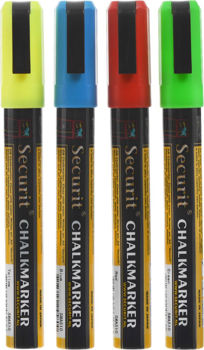 Маркеры для сообщений Securit, 4 штSMA510-V4Маркеры для сообщений Securit - это набор из 4 меловых маркеров синего, красного, зеленого и желтого цветов. Меловые маркеры позволяют наносить стираемые надписи на любые непористые поверхности - стекло, зеркала, пластик, металл или специальные покрытия и доски. Теперь вы сможете рисовать, делать заметки и отставлять послания для друзей и близких где угодно. Чтобы смыть надпись, достаточно просто протереть ее водой. Толщина линии: 2-6 мм. Длина маркера: 14,5 см.