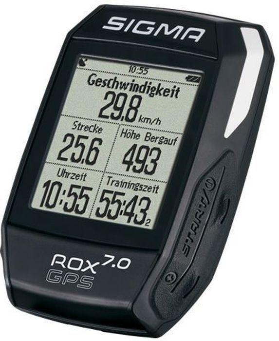 Велокомпьютер Sigma ROX 7.0 GPS, цвет: черныйSIG_01004Велокомпьютер SIGMA ROX 7.0 GPS BLACK прост в использовании. Предустановленные профили, GPS навигация по дорожкам, барометр высоты/ ROX GPS 7.0 идеальный компаньон с высоким коэффициентом производительности. Функции скорости Текущая скорость Средняя скорость Калорийность (на основе скорости) Максимальная скорость Расстояние Функции высотомера Текущий уровень Высота профиля Скороподъемность в м / мин Склон (в%) Навигационные функции Направление движения Расстояние до пункта назначения Вид трека Примерное время прибытия Время до цели Особенности Цифровой компас 3-осевой Анализ графических данных в центрах обработки данных Подсветка Спортивные профили Strava Водонепроницаемый (ipx7) Временные функции Дата Продолжительность Тренировочное время Время (12/24) Функции температуры Текущая температура Максимальная температура Минимальная температура ...