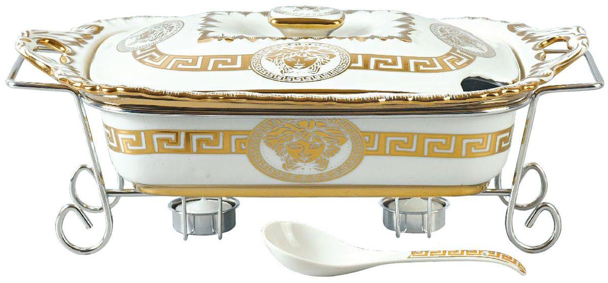 Мармит Madonna, цвет: белый, золотистый, 2,2 л. MA - 1136115510Фарфоровый мармит 2,2л. Прямоугольное фарфоровое блюдо с крышкой.Подставка под 2 свечи (включены). Фарфоровая поварская ложка - 1шт.