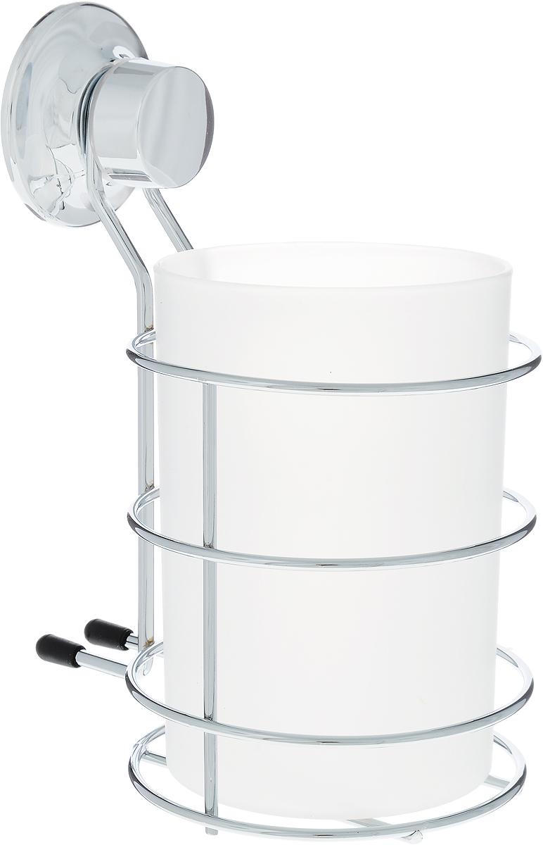 Стакан для ванной комнаты Tatkraft Swiss Line на присоске, 10,5 х 12 х 15,5 см80653Стакан Tatkraft Swiss Line для ванной комнаты выполнен из хромированной стали и крепится с помощью вакуумной присоски, изготовленной из каучука, мгновенно одним нажатием. Материал присоски прочный, эластичный, устойчивый к деформации, имеет длительный срок службы. Присоска помещена в пластиковую чашку особой конфигурации (лепестковой), что позволяет создать больший вакуум при фиксации, то есть более мощный эффект. В случае необходимости изделие можно быстро перевесить. Никаких дырок и следов на поверхности не остается. Легко устанавливается на плитку, стекло, металл и прочие воздухонепроницаемые поверхности. Характеристики:Материал: хромированная сталь, пластик. Размер изделия:10,5 см х 12 см х 15,5 см. Диаметр присоски: 5,5 см. Размер упаковки: 16,5 см х 12,5 см х 11 см.