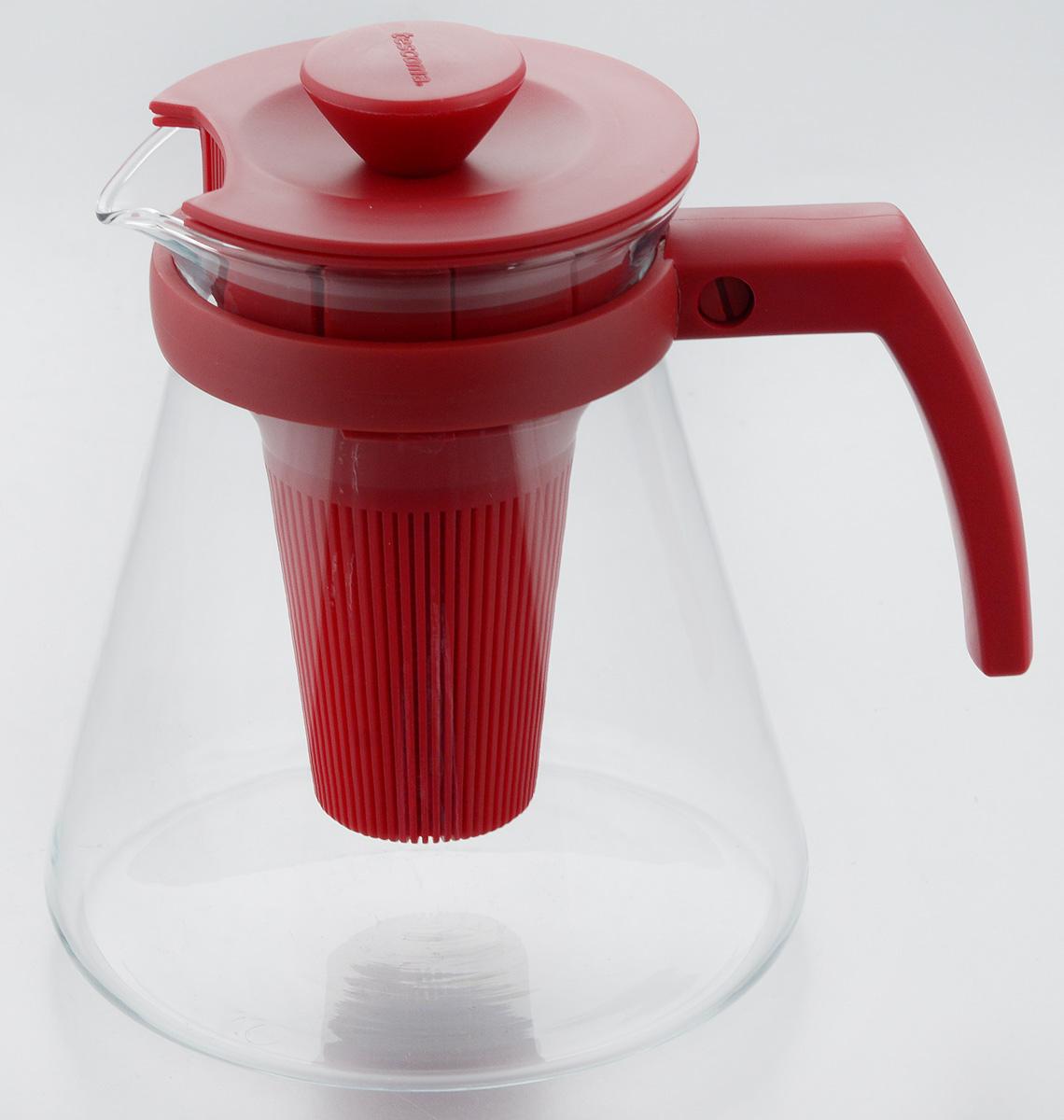 Чайник заварочный Tescoma Teo Tone, с ситечком, цвет: красный, прозрачный, 1,25 л646623.20Чайник заварочный Tescoma Teo Tone предназначен для подготовки и сервировки всех видов чая и чайных напитков. Чайник снабжен глубоким ситечком для заваривания свежей мяты, мелиссы, имбиря, сушеного шиповника, фруктов, а также очень густым ситечком для заваривания всех видов рассыпного чая. Корпус чайника изготовлен из термостойкого боросиликатного стекла, поэтому его можно ставить на плиту. Ручка, крышка и ситечко изготовлены из прочного пластика. Чайник подходит для газовых, электрических и стеклокерамических плит, микроволновой печи. Не рекомендуется мыть в посудомоечной машине. Инструкция по использованию внутри упаковки. Диаметр (по верхнему краю): 10 см. Диаметр основания: 14 см. Высота: 16 см.