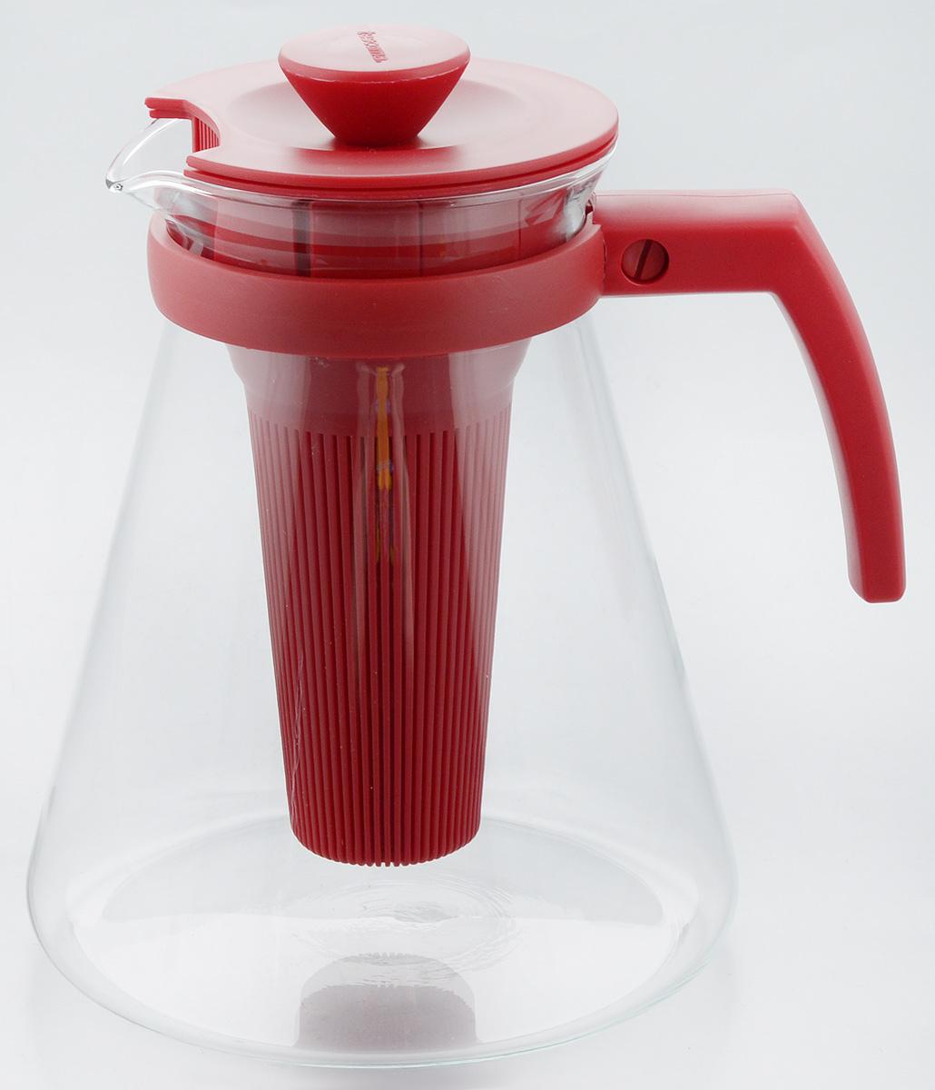 Чайник заварочный Tescoma Teo Tone, с ситечком, цвет: красный, прозрачный, 1,7 л646625.20Чайник заварочный Tescoma Teo Tone предназначен для подготовки и сервировки всех видов чая и чайных напитков. Чайник снабжен глубоким ситечком для заваривания свежей мяты, мелиссы, имбиря, сушеного шиповника, фруктов, а также очень густым ситечком для заваривания всех видов рассыпного чая. Корпус чайника изготовлен из термостойкого боросиликатного стекла, поэтому его можно ставить на плиту. Ручка, крышка и ситечко изготовлены из прочного пластика. Чайник подходит для газовых, электрических и стеклокерамических плит, микроволновой печи. Не рекомендуется мыть в посудомоечной машине. Инструкция по использованию внутри упаковки. Диаметр (по верхнему краю): 10 см. Диаметр основания: 16 см. Высота: 18 см.