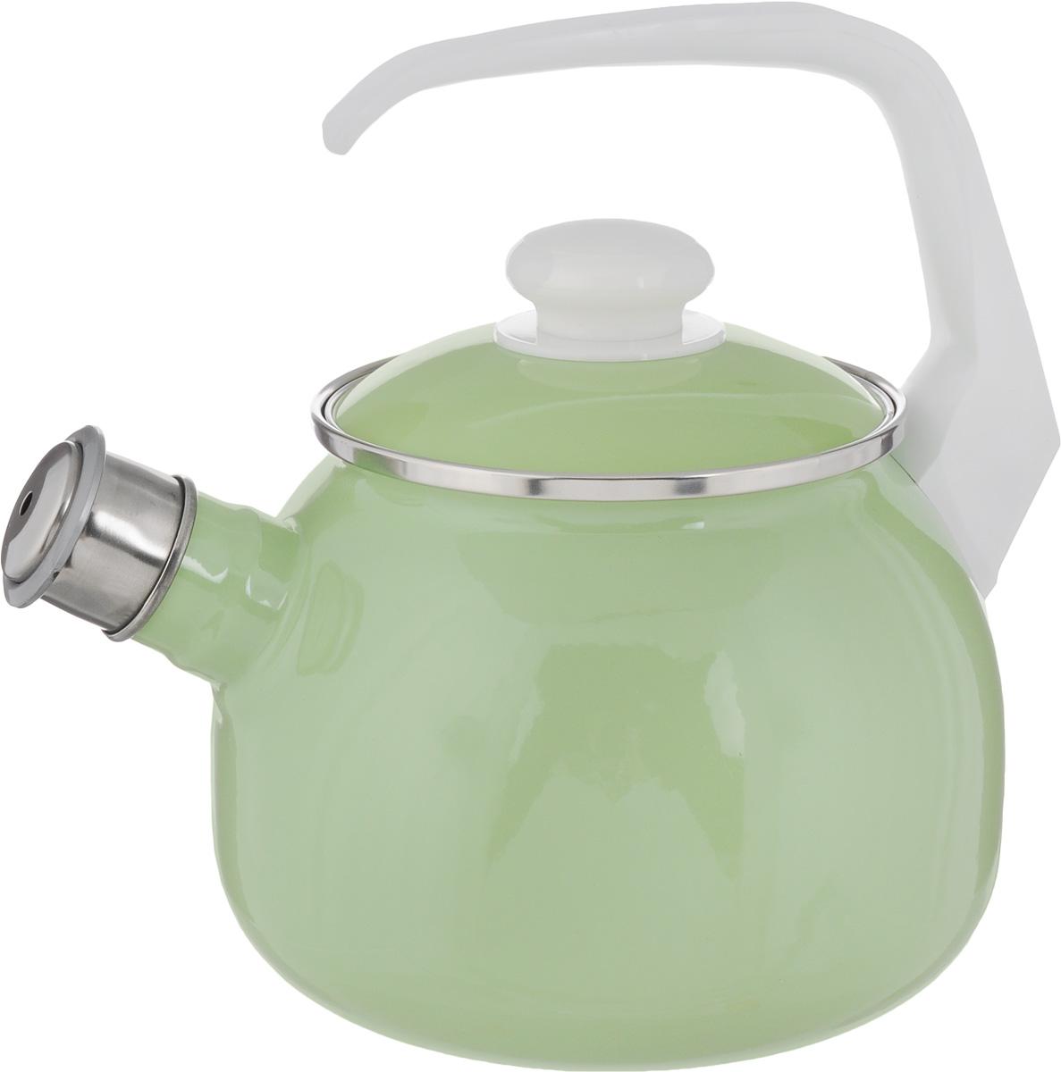 Чайник Elros Green Apple, со свистком, цвет: зеленый, 2,5 л115510Чайник Elros Green Apple изготовлен из высококачественной нержавеющей стали с эмалированным покрытием. Нержавеющая сталь обладает высокой устойчивостью к коррозии, не вступает в реакцию с холодными и горячими продуктами и полностью сохраняет их вкусовые качества. Особая конструкция дна способствует высокой теплопроводности и равномерному распределению тепла. Чайник оснащен удобной ручкой. Носик чайника имеет снимающийся свисток, звуковой сигнал которого подскажет, когда закипит вода. Подходит для всех типов плит, включая индукционные. Можно мыть в посудомоечной машине.Диаметр чайника (по верхнему краю): 12,5 см.Высота чайника (без учета ручки и крышки): 13 см.Высота чайника (с учетом ручки): 23 см.