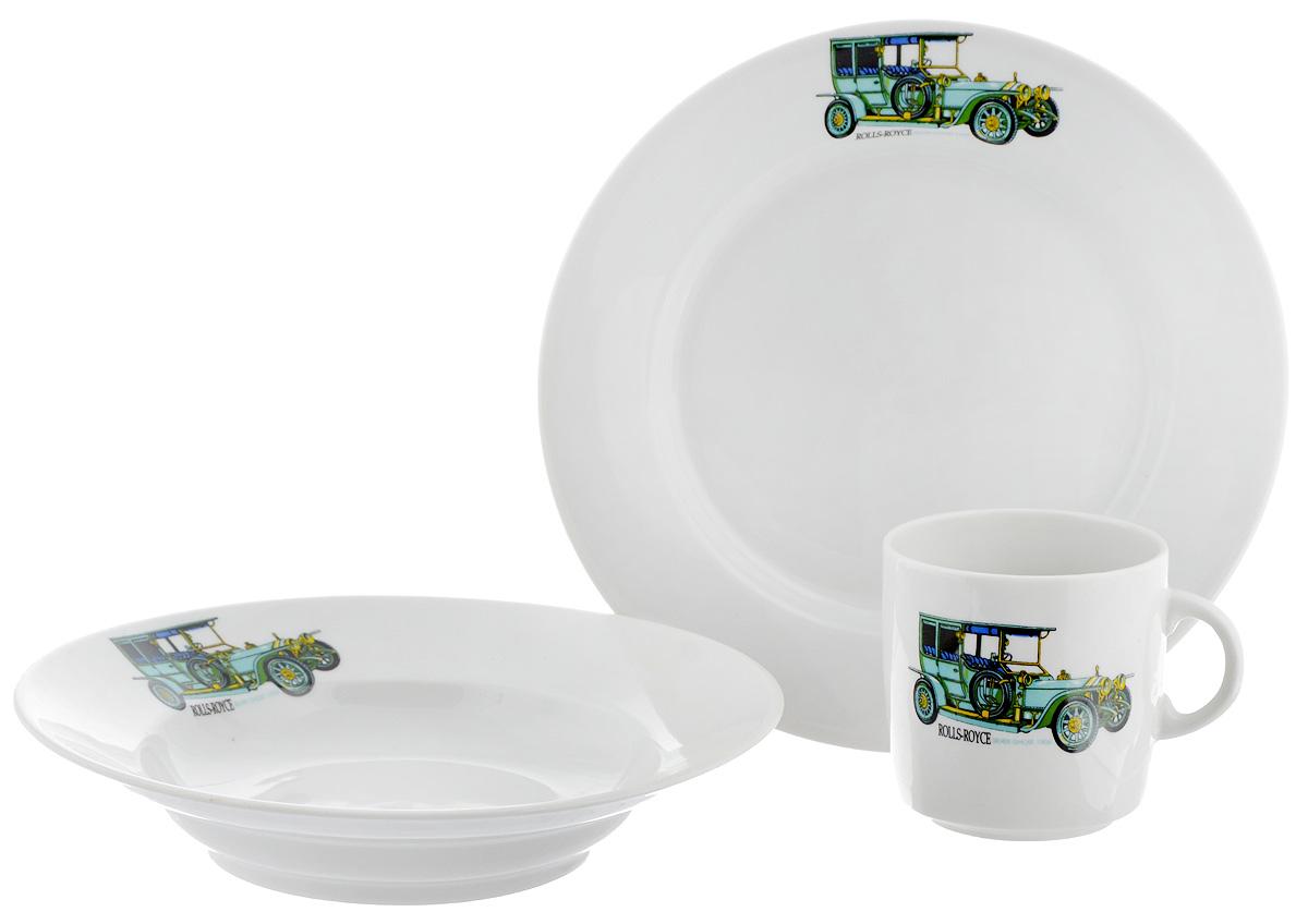 Набор детской посуды Фарфор Вербилок Машинки. Rolls-Royce, 3 предмета115610Набор посуды Машинки. Rolls-Royce изготовлен из высококачественного экологически чистого фарфора. В набор входят 3 предмета: кружка детская, плоская тарелка и тарелка для супа. Посуда оформлена красочными рисунками автомобиля. Набор, несомненно, привлечет внимание вашего ребенка и не позволит ему скучать. Порадуйте своего ребенка этим замечательным набором! Диаметр кружки: 7 см. Высота кружки: 7,5 см. Диаметр тарелки для супа: 19,5 см. Высота тарелки для супа: 4 см. Диаметр плоской тарелки: 20 см. Высота плоской тарелки: 2,5 см.