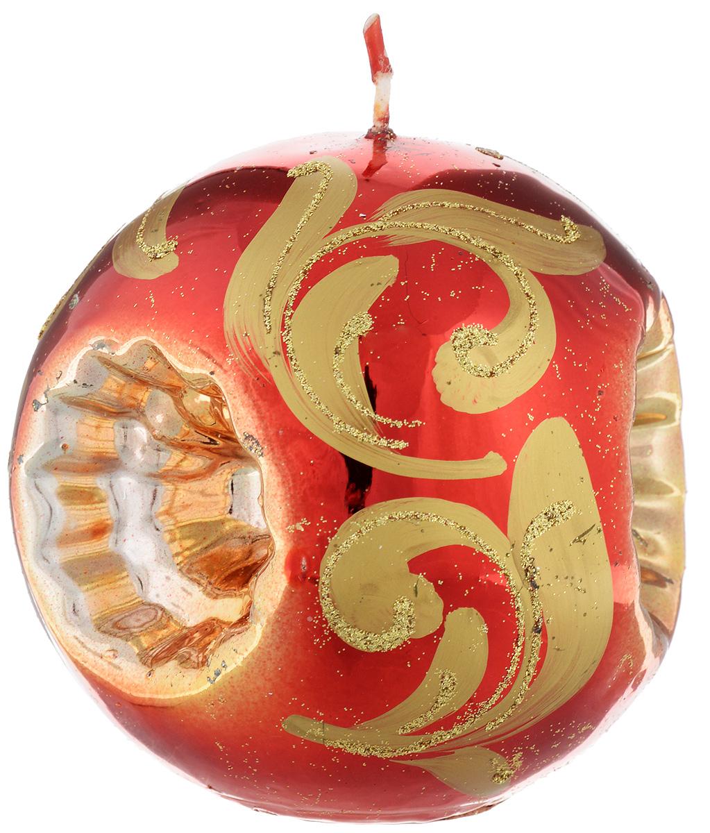 Свеча-шар Fem Рефлектор, цвет: красный, золотой, диаметр 10 смFS-91909Свеча-шар Fem Рефлектор изготовлена из парафина и декорирована изящным узором с блестками. Такая свеча станет изысканным украшением интерьера. Она принесет в ваш дом волшебство и ощущение праздника.