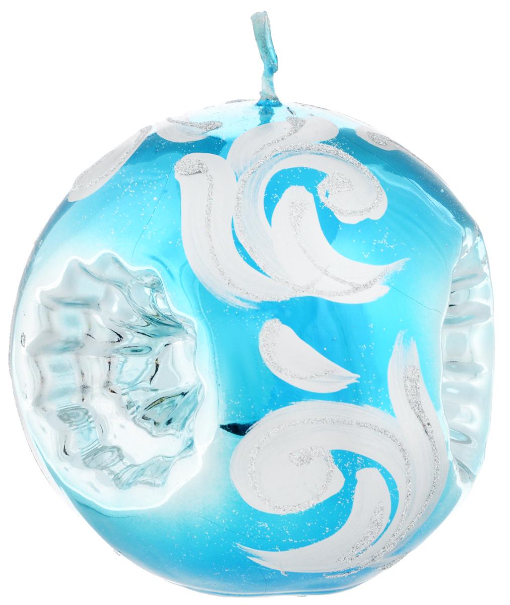 Свеча-шар Fem Рефлектор, цвет: бирюзовый, серебристый, диаметр 10 см1790/8541Свеча-шар Fem Рефлектор изготовлена из парафина и декорирована изящным узором с блестками. Такая свеча станет изысканным украшением интерьера. Она принесет в ваш дом волшебство и ощущение праздника.