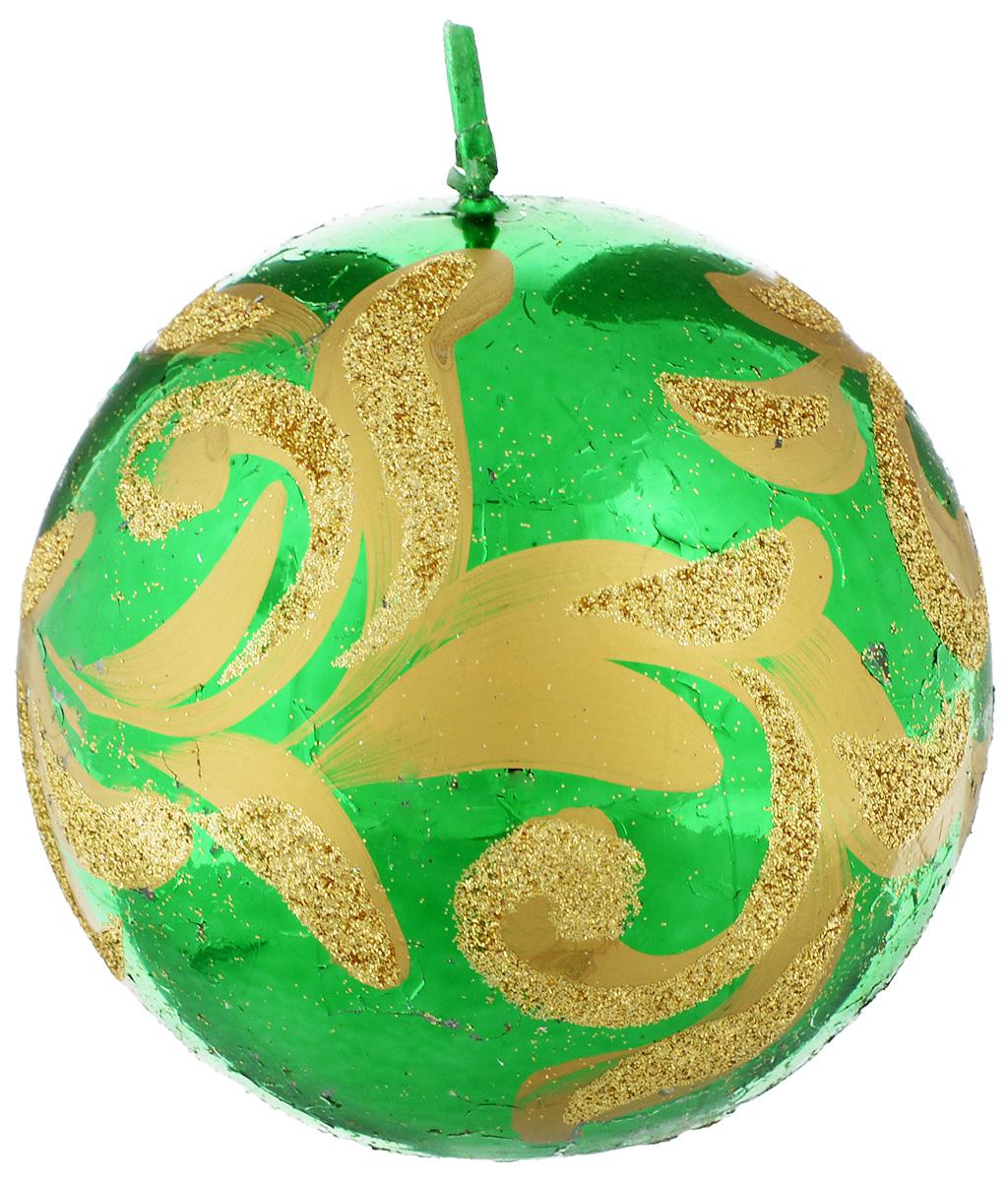 Свеча-шар Fem Флоренция, цвет: зеленый, золотой, диаметр 9 смFS-91909Свеча-шар Fem Флоренция изготовлена из парафина и декорирована изящным узором с блестками. Такая свеча станет изысканным украшением интерьера. Она принесет в ваш дом волшебство и ощущение праздника. Создайте в своем доме атмосферу веселья и радости, и тогда самый обычный день с легкостью превратится в торжество.