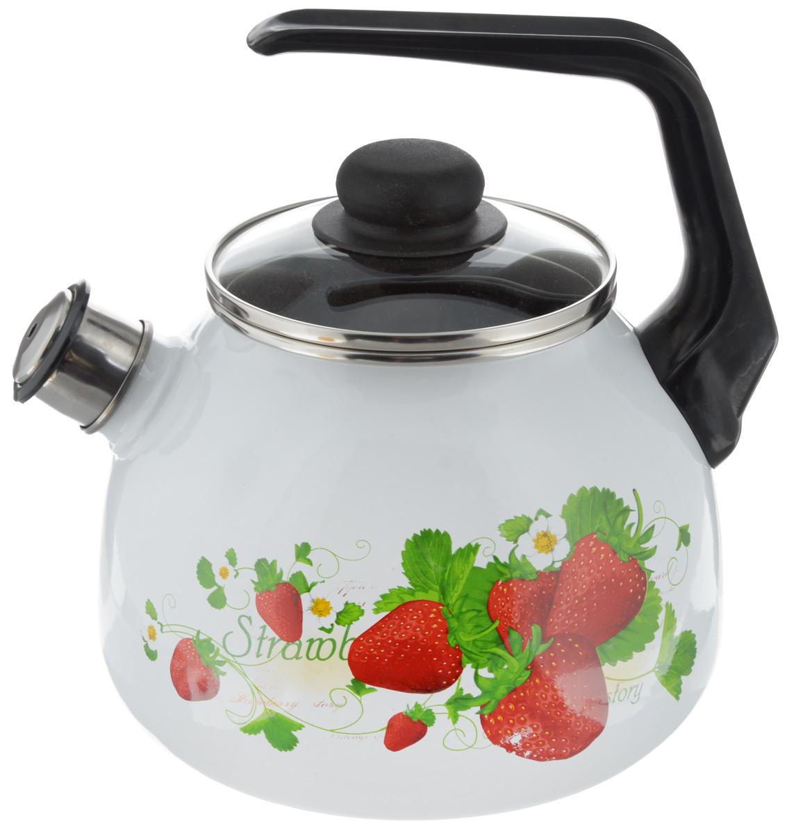 Чайник Vitross Strawberry, со свистком, цвет: белый, красный, 3 лVT-1520(SR)Чайник Vitross Strawberry изготовлен из высококачественной нержавеющей стали с эмалированным покрытием. Нержавеющая сталь обладает высокой устойчивостью к коррозии, не вступает в реакцию с холодными и горячими продуктами и полностью сохраняет их вкусовые качества. Особая конструкция дна способствует высокой теплопроводности и равномерному распределению тепла. Чайник оснащен удобной ручкой. Носик чайника имеет снимающийся свисток, звуковой сигнал которого подскажет, когда закипит вода. Подходит для всех типов плит, включая индукционные. Можно мыть в посудомоечной машине.Диаметр чайника (по верхнему краю): 12,5 см.Высота чайника (без учета ручки и крышки): 15 см.Высота чайника (с учетом ручки): 23 см.