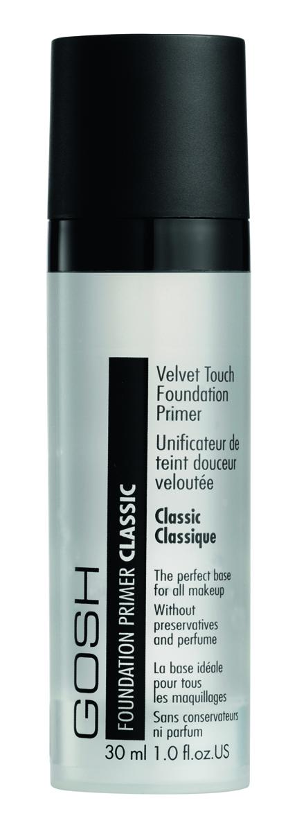 Gosh, Праймер для лица выравнивающий Velvet Touch Foundation Primer Classic, 30 мл624582Особая бесцветная субстанция заполняет мелкие неровности и глубокие поры кожи, делая вашу кожу исключительно гладкой. Великолепно способствует легкому и ровному нанесению макияжа. Основу Velvet Touch Foundation Primer можно использовать как самостоятельно, так и после нанесения дневного крема. Делает кожу мягкой и гладкой, словно шелк. Прекрасная основа для любого макияжа Содержит Алоэ вера Не содержит консервантов и парфюмерных отдушек С дозатором