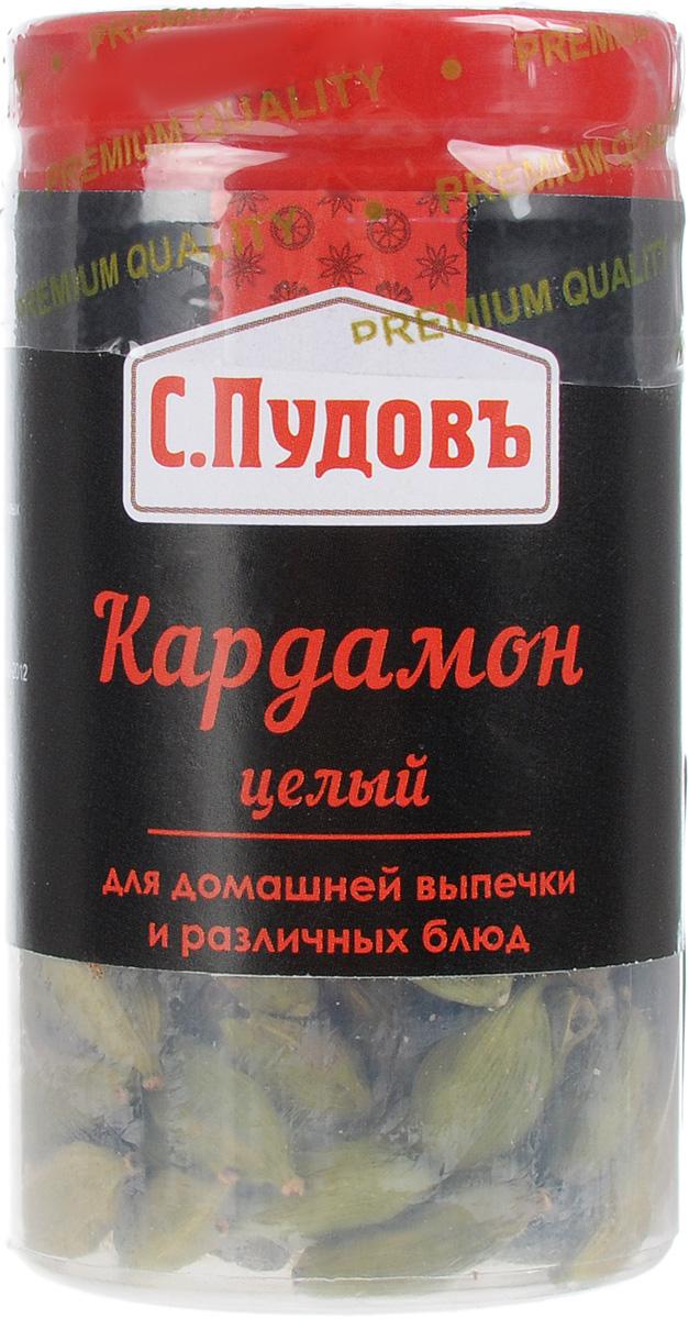 Пудовъ кардамон целый, 25 г46070122927310Вкус кардамона остропряный и сладковатый, с нотками лимона. Используют в блюдах из мяса и рыбы, морепродуктов, риса и картофеля, для ароматизации компотов, киселей, кофе. Традиционно добавляют в хлеба, кексы, пряники, печенье, марципаны, пироги и десерты. Можно использовать целым, либо измельченным.