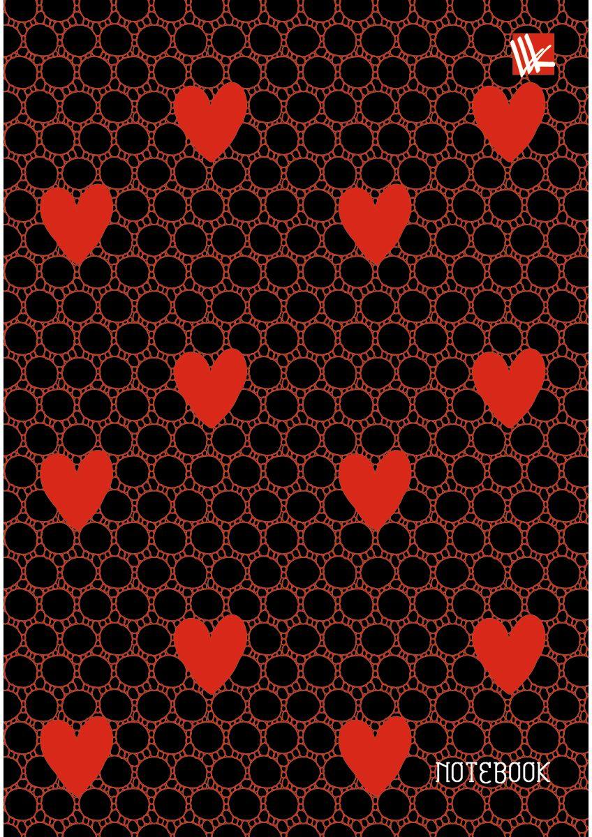 Канц-Эксмо Записная книжка Орнамент Красные сердечки 80 листов в клетку96623СЗаписная книжка в твердом переплете с поролоном А6, 80 листов. Обложка с матовой ламинацией, выборочным лакированием и блестками. Форзацы цветные. Бумага – офсет 70 г/м2, линия. Сшитый блок.
