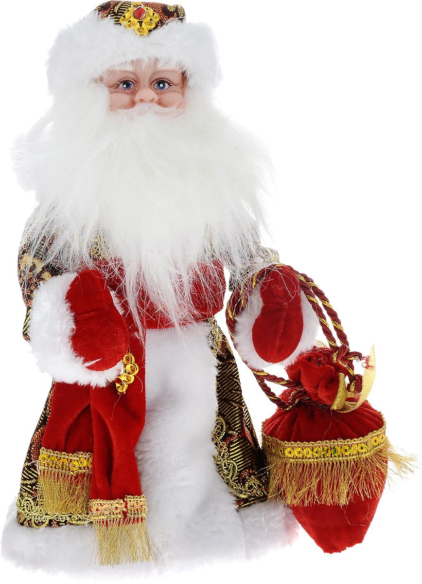 Фигурка новогодняя Winter Wings Дед Мороз, музыкальная, цвет: красный, золотой, высота 30 смN05289Декоративная музыкальная фигурка Winter Wings Дед Мороз изготовлена из пластика, полиэстера и ткани. Она подойдет для оформления новогоднего интерьера и принесет с собой атмосферу радости и веселья. Дед Мороз одет в длинную шубу с красивыми узорами, подвязанную ремешком с кисточками. На голове - шапка с мехом, на ногах - черные башмачки. В руках он держит посох и мешок с подарками. Его добрый вид и очаровательная густая, белая борода притягивают к себе восторженные взгляды. Новогодние украшения всегда несут в себе волшебство и красоту праздника. Создайте в своем доме атмосферу тепла, веселья и радости, украшая его всей семьей. Высота фигурки: 30 см. Фигурка работает от 3 батареек типа АА (батарейки в комплект не входят).