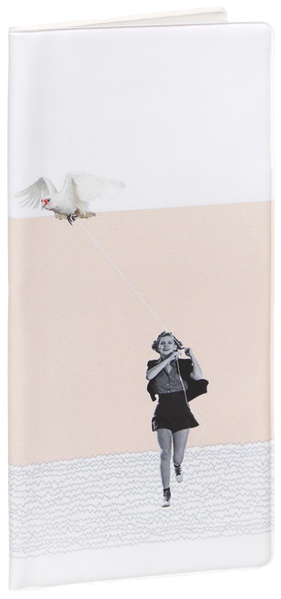 """Обложка для документов Kawaii Factory """"Girl with bird"""", цвет: белый, бледно-розовый. KW066-000028 KW066-000028_белый, розовый"""