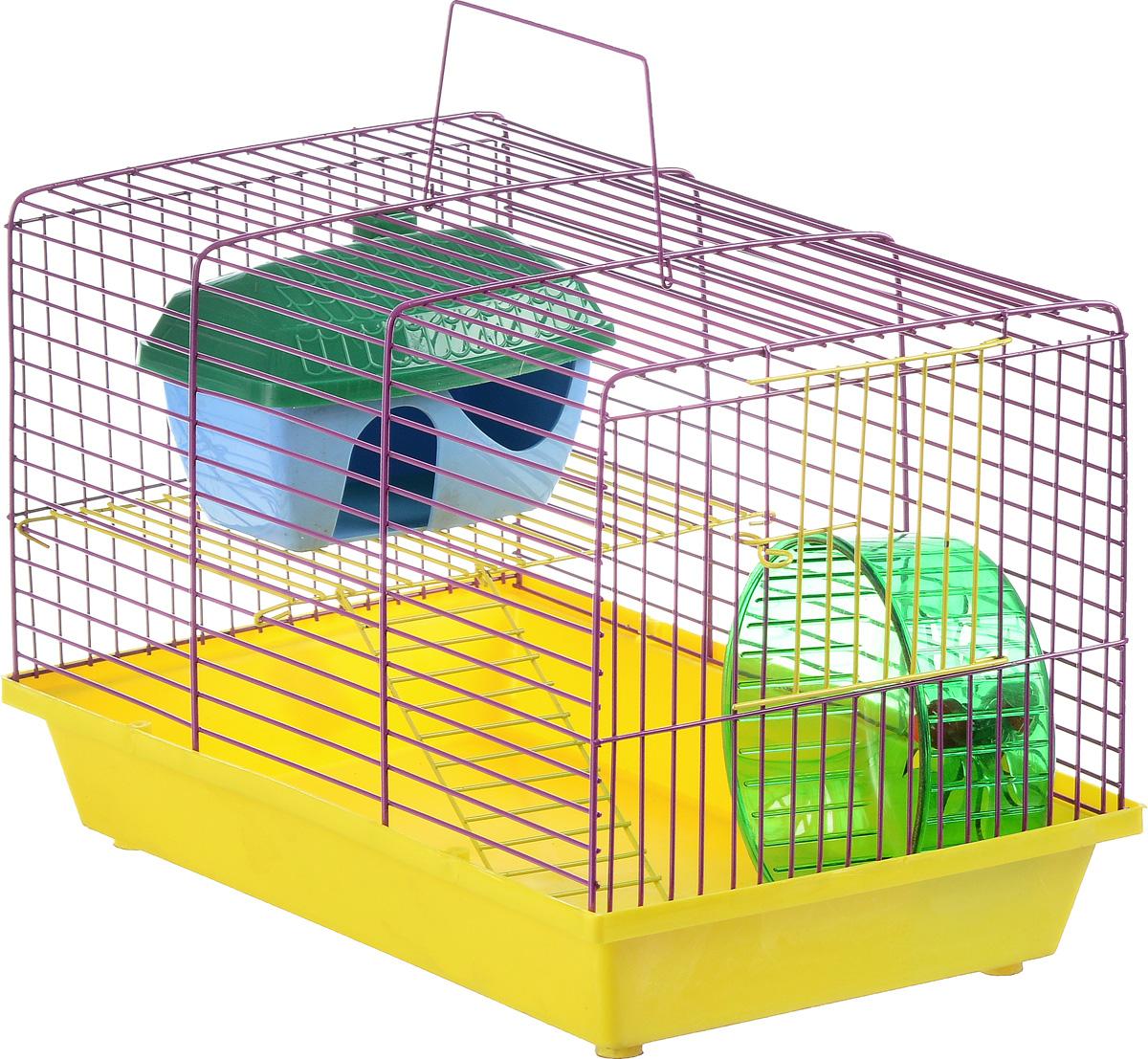 Клетка для грызунов ЗооМарк, 2-этажная, цвет: желтый поддон, фиолетовая решетка, желтый этаж, 36 х 22 х 24 см125_желтый, фиолетовыйКлетка ЗооМарк, выполненная из полипропилена и металла, подходит для мелких грызунов. Изделие двухэтажное, оборудовано колесом для подвижных игр и пластиковым домиком. Клетка имеет яркий поддон, удобна в использовании и легко чистится. Сверху имеется ручка для переноски, а сбоку удобная дверца. Такая клетка станет уединенным личным пространством и уютным домиком для маленького грызуна.