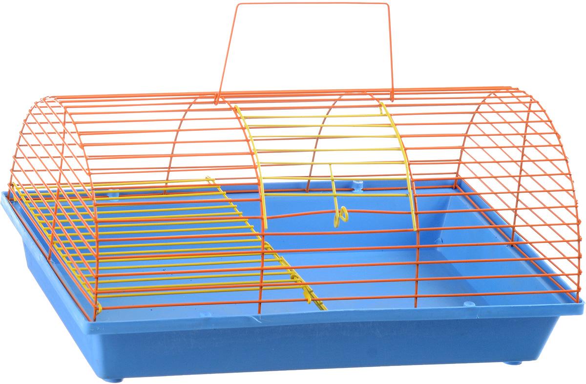 Клетка для грызунов ЗооМарк, цвет: голубой поддон, оранжевая решетка, 36 х 23 х 17,5 см. 110ж110ж_голубой, оранжевыйКлетка ЗооМарк, выполненная из полипропилена и металла, подходит для грызунов. Она имеет яркий поддон, удобна в использовании и легко чистится. Клетка оснащена вторым ярусом с лесенкой, выполненных из металла. Такая клетка станет уединенным пространством и уютным домиком для маленького грызуна.