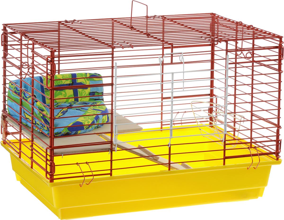 Клетка для кроликов ЗооМарк, 2-этажная, цвет: желтый поддон, красная решетка, 59 х 39 х 41 см650ЖККлетка для кроликов ЗооМарк, выполненная из металла и пластика, предназначена для содержания вашего любимца. Клетка имеет прямоугольную форму, очень просторна, оснащена съемным поддоном. Она очень легко собирается и разбирается. Для удобства вашего питомца в клетке предусмотрен мягкий уголок, в котором кролик сможет отдохнуть. Такая клетка станет для вашего питомца уютным домиком и надежным убежищем.