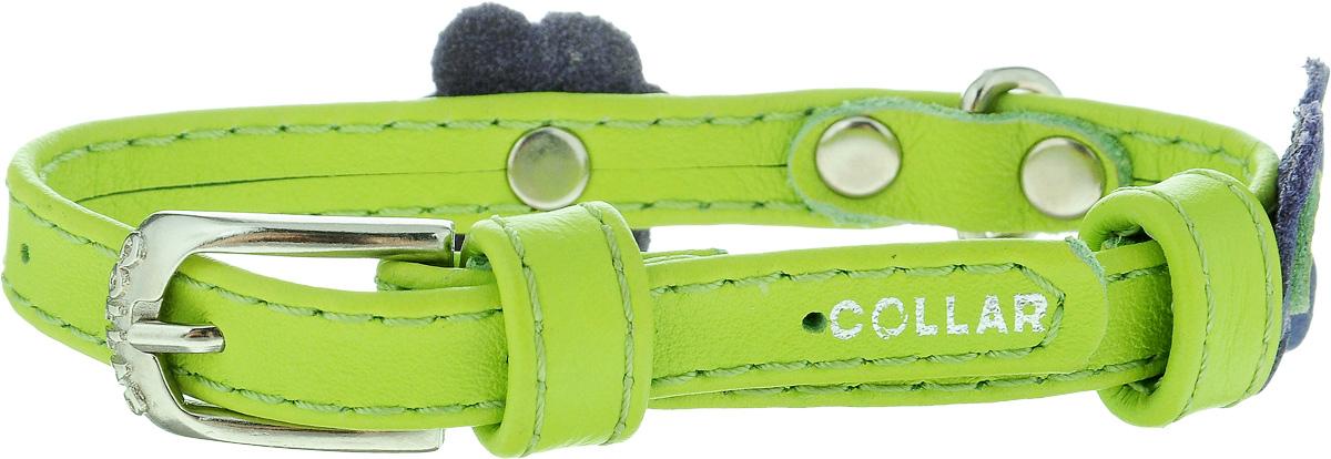 Ошейник для собак CoLLaR Glamour Аппликация, цвет: зеленый, фиолетовый, ширина 9 мм, обхват шеи 19-25 см34995Ошейник CoLLaR Glamour Аппликация изготовлен из кожи, устойчивой к влажности и перепадам температур. Клеевой слой, сверхпрочные нити, крепкие металлические элементы делают ошейник надежным и долговечным. Изделие отличается высоким качеством, удобством и универсальностью. Размер ошейника регулируется при помощи металлической пряжки. Имеется металлическое кольцо для крепления поводка. Ваша собака тоже хочет выглядеть стильно! Модный ошейник с аппликацией в виде цветов станет для питомца отличным украшением и выделит его среди остальных животных. Минимальный обхват шеи: 19 см. Максимальный обхват шеи: 25 см. Ширина: 9 мм.