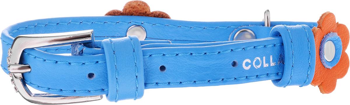 Ошейник для собак CoLLaR Glamour Аппликация, цвет: синий, оранжевый, ширина 1,2 см, обхват шеи 21-29 см35002Ошейник CoLLaR Glamour Аппликация изготовлен из кожи, устойчивой к влажности и перепадам температур. Клеевой слой, сверхпрочные нити, крепкие металлические элементы делают ошейник надежным и долговечным. Изделие отличается высоким качеством, удобством и универсальностью. Размер ошейника регулируется при помощи металлической пряжки. Имеется металлическое кольцо для крепления поводка. Ваша собака тоже хочет выглядеть стильно! Модный ошейник с аппликацией в виде цветов станет для питомца отличным украшением и выделит его среди остальных животных. Минимальный обхват шеи: 21 см. Максимальный обхват шеи: 29 см. Ширина: 1,2 см.