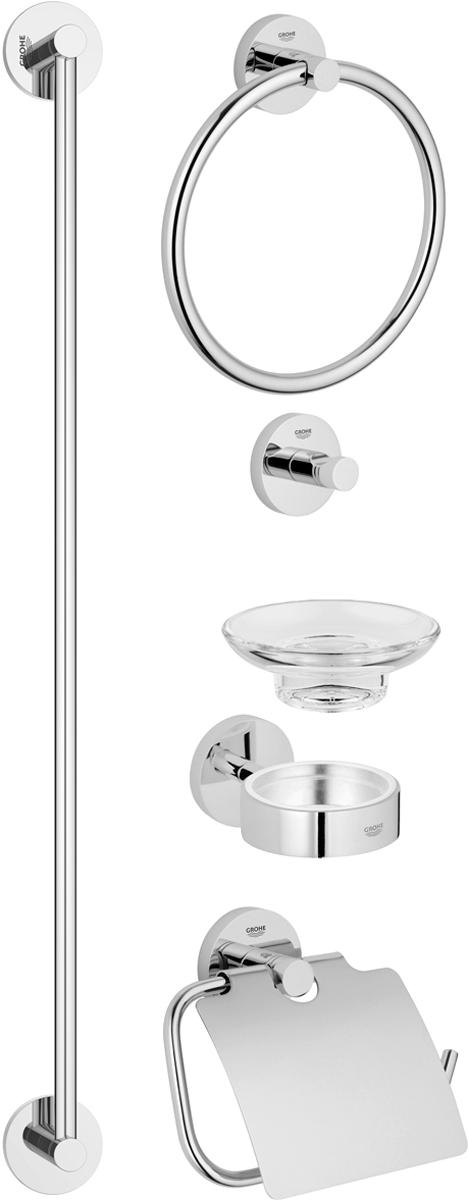 Набор аксессуаров для ванной комнаты Grohe Essentials, 5 предметов40344001Комплект аксессуаров Grohe Essentials, состоящий из мыльницы с держателем, крючка для банного халата, кольца для полотенца, держателя для туалетной бумаги и держателя для банного полотенца, представляет собой идеальный выбор для оснащения ванной комнаты. Изделия изготовлены из высококачественного металла и стекла. Все предметы разработаны в едином стиле и сочетают в себе универсальный дизайн, изысканные технологии изготовления и первоклассное качество. В комплект входит набор креплений для аксессуаров. Размер держателя для банного полотенца: 65 х 6 х 5,5 см. Размер крючка для банного халата: 5,5 х 5,5 х 4,5 см. Размер держателя для туалетной бумаги: 17 х 4,5 х 12 см. Размер кольца для банного халата: 20 х 4,5 х 18 см. Размер мыльницы с держателем: 12,5 х 11 х 6 см.