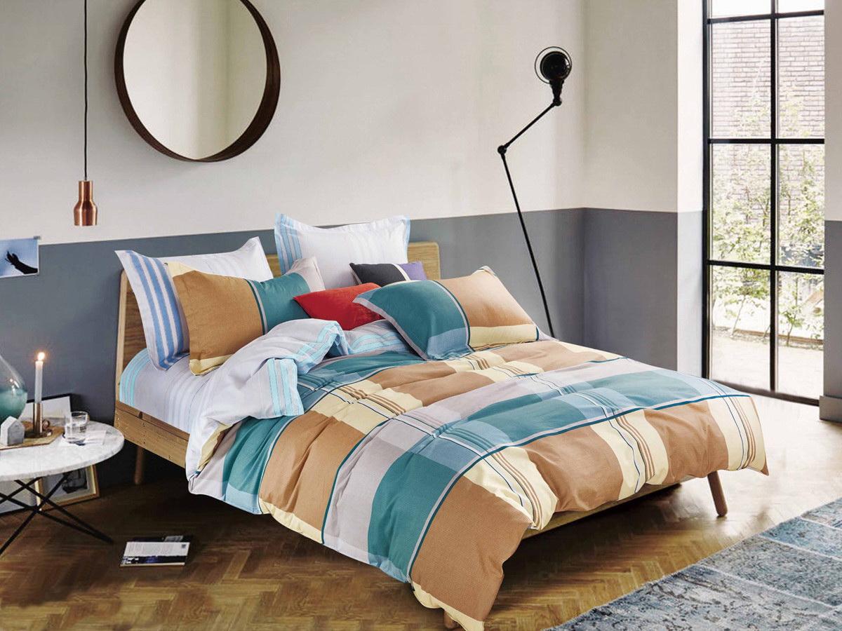 Комплект белья Cleo Квадрариум, 1,5-спальный, наволочки 70x70, цвет: коричневый. 15/285-SP