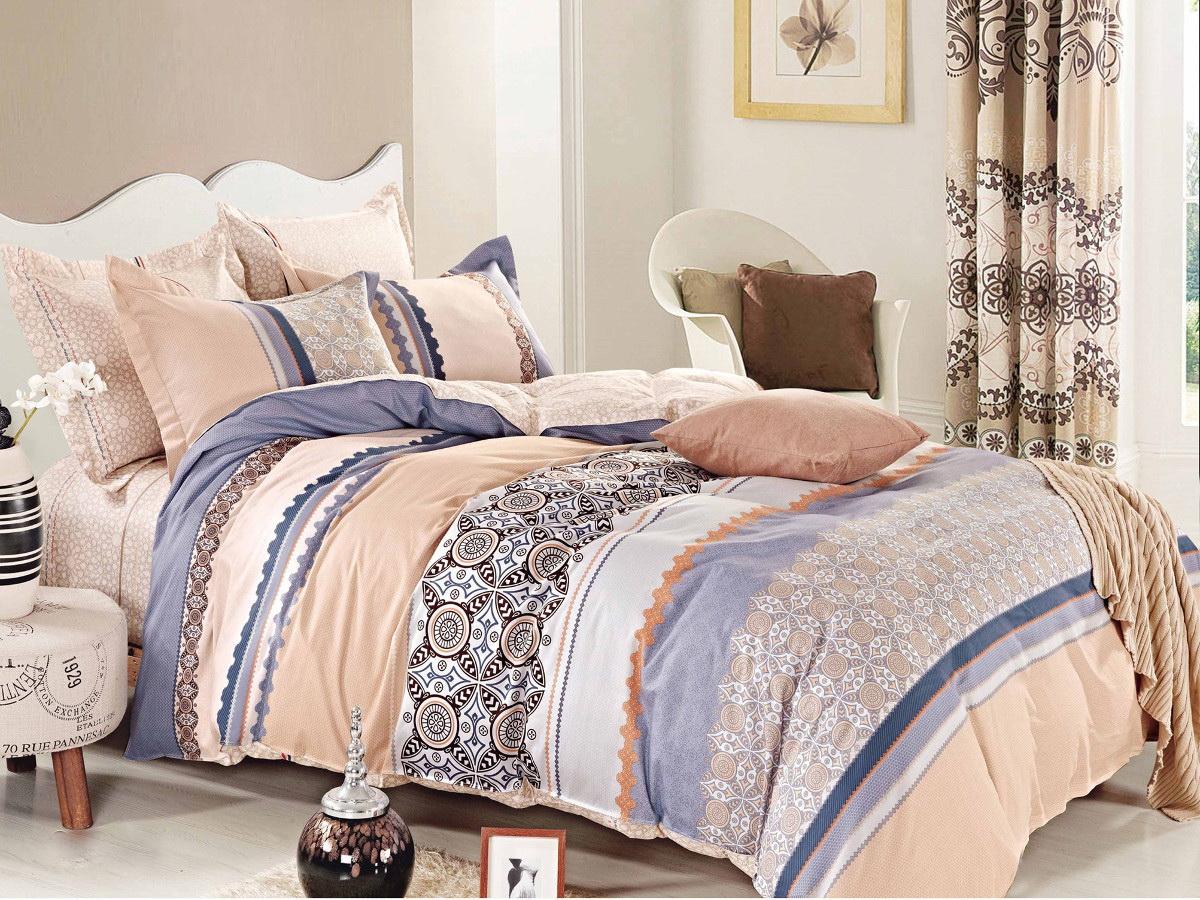 Комплект белья Cleo Ливс, 1,5-спальный, наволочки 70x70, цвет: бежевый. 15/290-SP