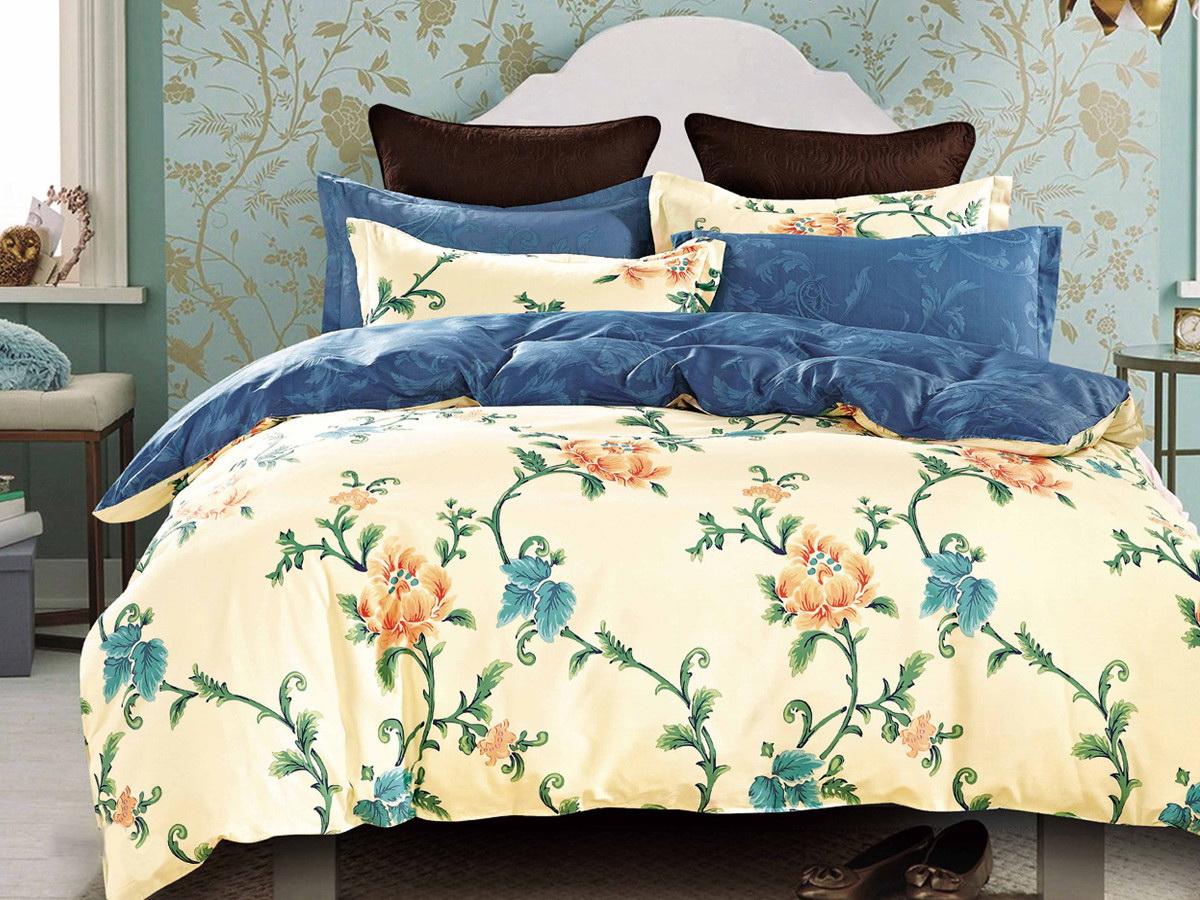 Комплект белья Cleo Магдалина, 1,5-спальный, наволочки 70x70, цвет: бежевый. 15/294-SP