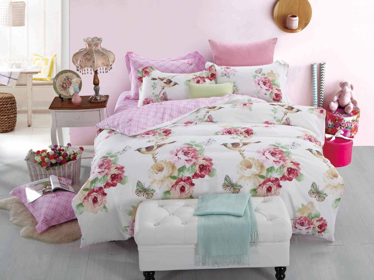 Комплект белья Cleo Райсад, 1,5-спальный, наволочки 70x70, цвет: розовый. 15/297-SP