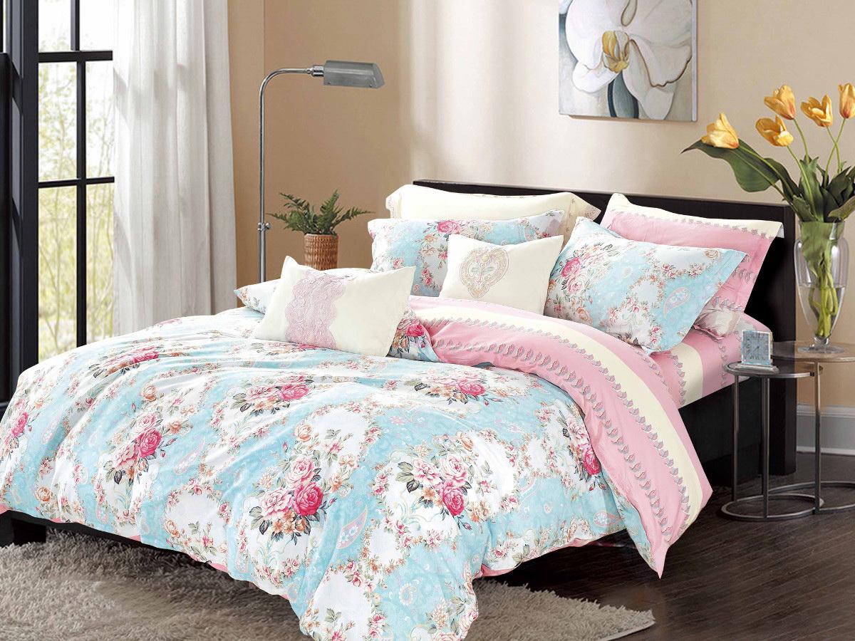 Комплект белья Cleo Неонилла, 1,5-спальный, наволочки 70x70, цвет: голубой. 15/302-SP