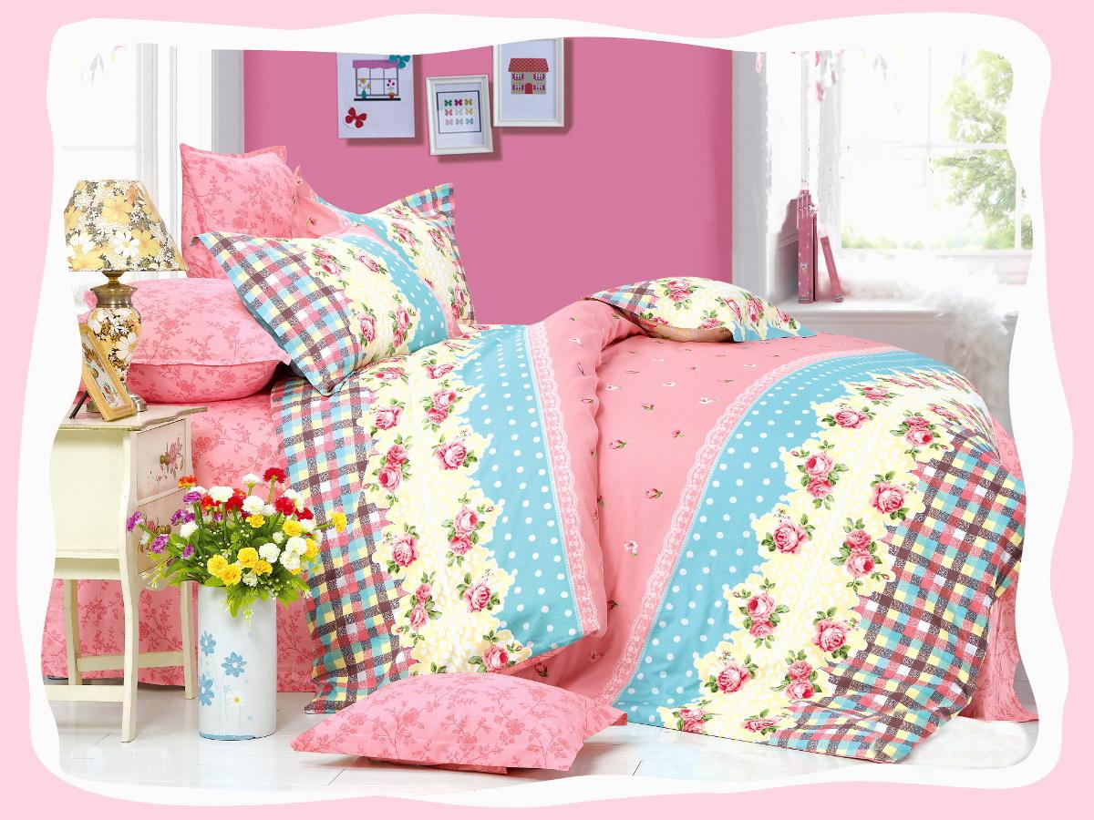 Комплект белья Cleo Лямур Тужур, 2-спальный, наволочки 70x70, цвет: розовый. 20/157-SP