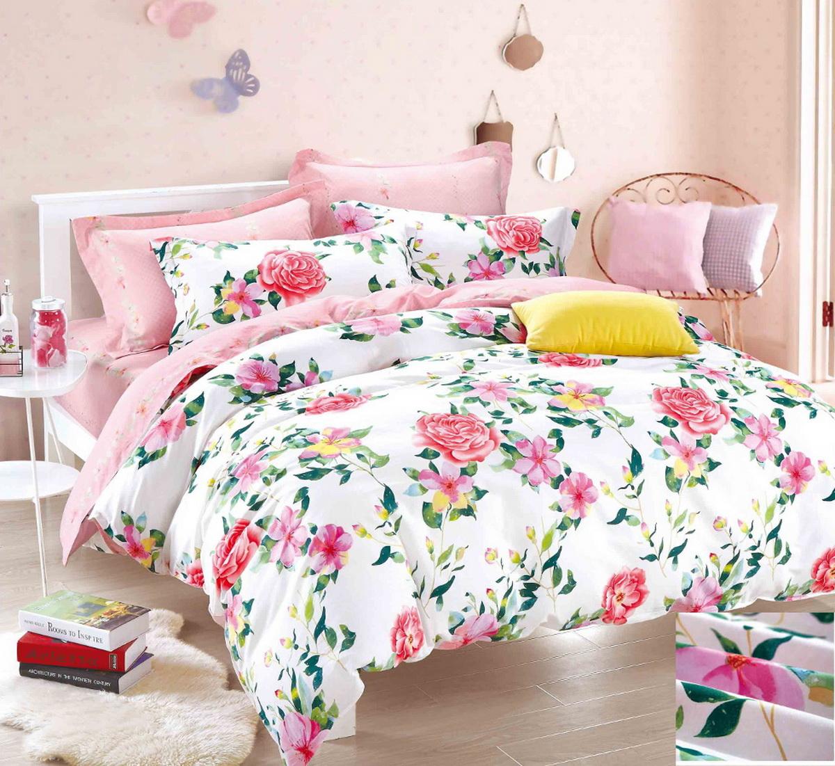 Комплект белья Cleo Розовый плен, 2-спальный, наволочки 70x70, цвет: розовый. 20/196-SP