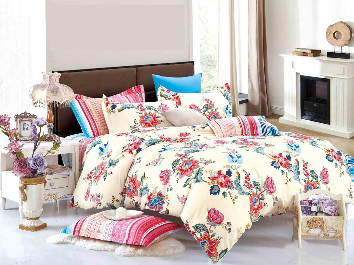Комплект белья Cleo Цветочный ландшафт, 2-спальный, наволочки 70x70, цвет: белый. 20/207-SP