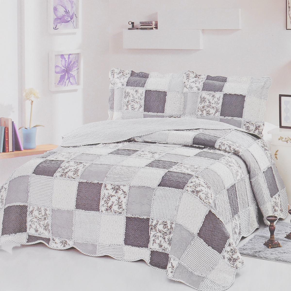 Комплект для спальни Karna Modalin. Пэчворк: покрывало 230 х 250 см, 2 наволочки 50 х 70 см, цвет: белый, серый, синий5022/CHAR006Изысканный комплект Karna Modalin. Пэчворк прекрасно оформит интерьер спальни или гостиной. Комплект состоит из двухстороннего покрывала и двух наволочек. Изделия изготовлены из микрофибры. Постельные комплекты Karna уникальны, так как они практичны и универсальны в использовании. Материал хорошо сохраняет окраску и форму. Изделия долговечны, надежны и легко стираются. Комплект Karna не только подарит тепло, но и гармонично впишется в интерьер вашего дома. Размер покрывала: 230 х 250 см. Размер наволочки: 50 х 70 см.
