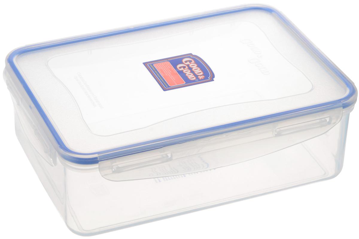 Контейнер Good&Good, цвет: прозрачный, синий, 2 лVT-1520(SR)Контейнер Good&Good изготовлен из высококачественного полипропилена и предназначен для хранения любых пищевых продуктов. Благодаря особым технологиям изготовления, контейнер в течение времени службы не меняет цвет и не пропитывается запахами. Крышка с силиконовой вставкой герметично защелкивается специальным механизмом. Контейнер Good&Good удобен для ежедневного использования в быту.Можно мыть в посудомоечной машине.Максимальная температура использования: +100°С.Минимальная температура использования: -20°С.Размер контейнера (с учетом крышки): 23 х 16,5 х 7,5 см.
