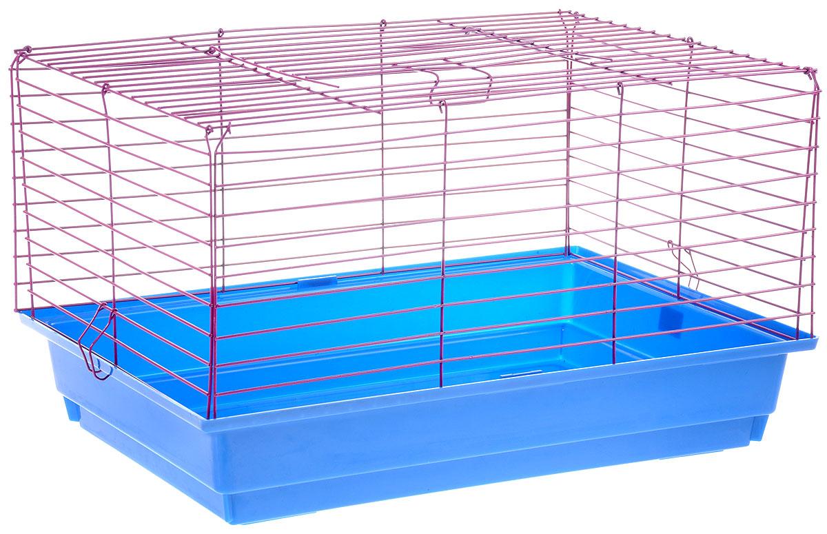 Клетка для кролика ЗооМарк, цвет: синий поддон, фиолетовая решетка, 50 х 35 х 30 см0120710Классическая клетка ЗооМарк со сплошным дном станет уединенным личным пространством и уютным домиком для кролика. Изделие выполнено из металла и пластика. Клетка надежно закрывается на защелки. Легко чистится. Для более удобной транспортировки клетку можно сложить.