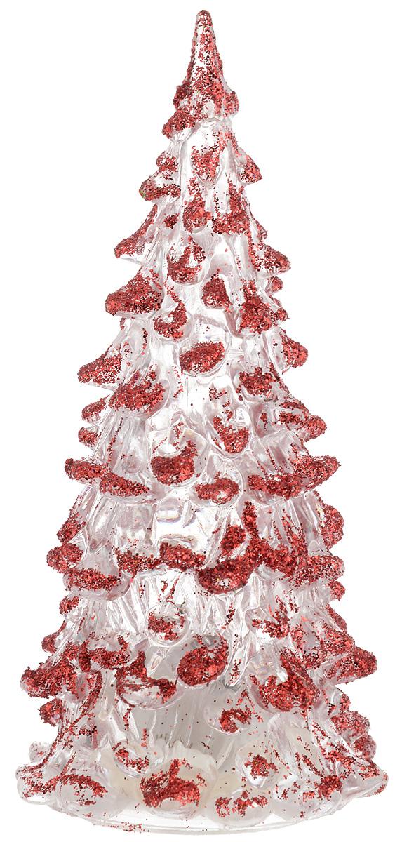Фигурка декоративная B&H Елочка, светящаяся, цвет: красный, прозрачный, высота 12 смNLED-444-7W-BKФигурка декоративная B&H изготовлена из акрила в виде нарядной новогодней елочки и декорирована цветными сверкающими блестками. Изделие снабжено светодиодом, который меняет цвет и горит в разных режимах. Тумблер включения расположен на дне фигурки. Создайте в своем доме атмосферу веселья и радости, украшая его к Новому году. Откройте для себя удивительный мир сказок и грез. Почувствуйте волшебные минуты ожидания праздника, создайте новогоднее настроение вашим родным и близким. Изделие работает от 3 батареек типа AG10 (входят в комплект).