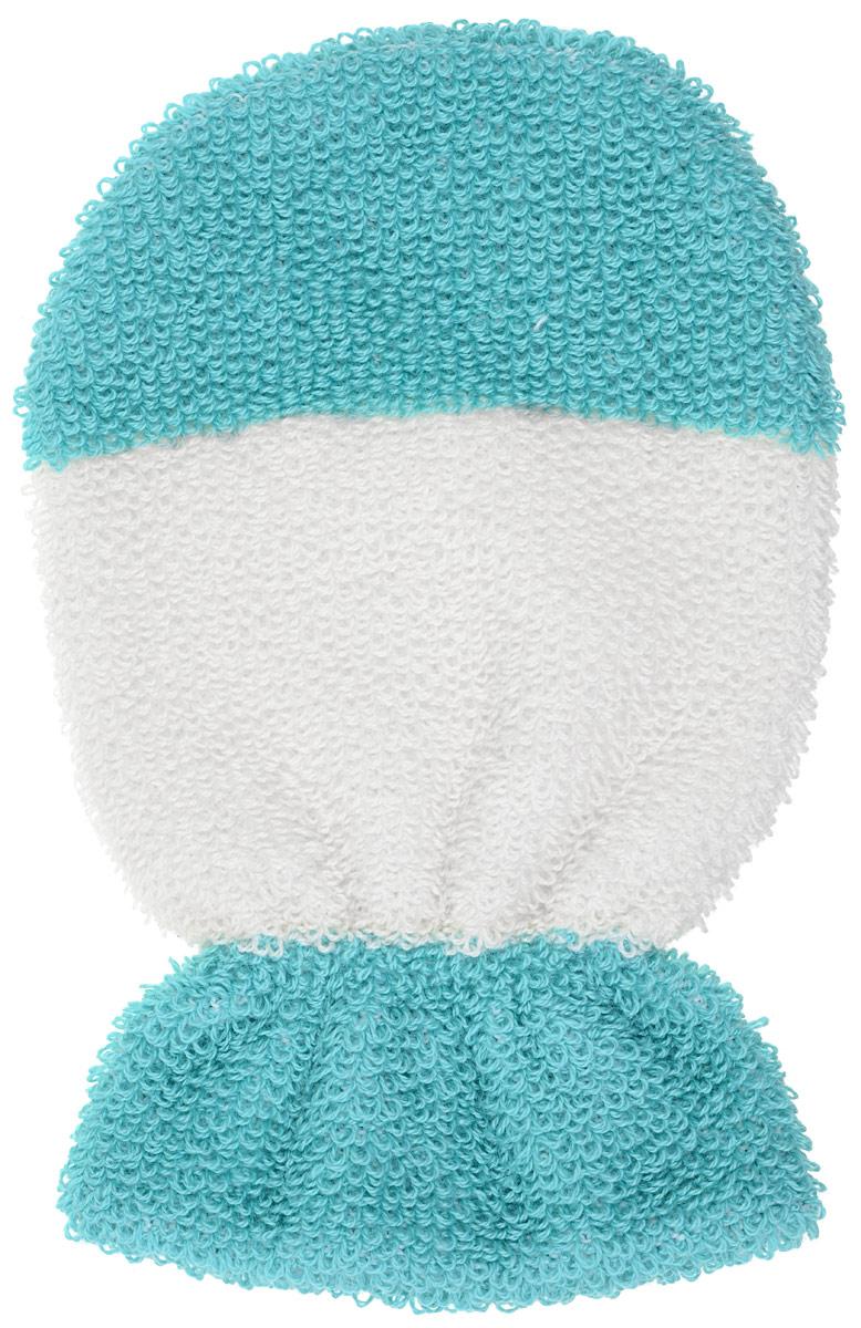 Мочалка-рукавица Riffi детская, двусторонняя, цвет: молочный, бирюзовый. 402402_молочный, бирюзовыйМочалка-рукавица Riffi детская, двусторонняя, цвет: молочный, бирюзовый. 402
