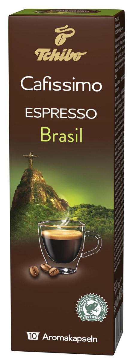 Cafissimo Espresso Brasil кофе в капсулах, 10 шт483502Натуральный кофе в капсулах Cafissimo Espresso Brasil имеет вкус гармоничного эспрессо. Зерна медленно созревают на солнечных бразильских горных склонах и дарят эспрессо слегка горький и сладкий аромат с нотками ореха. Традиционная итальянская обжарка полностью раскрывает вкус.