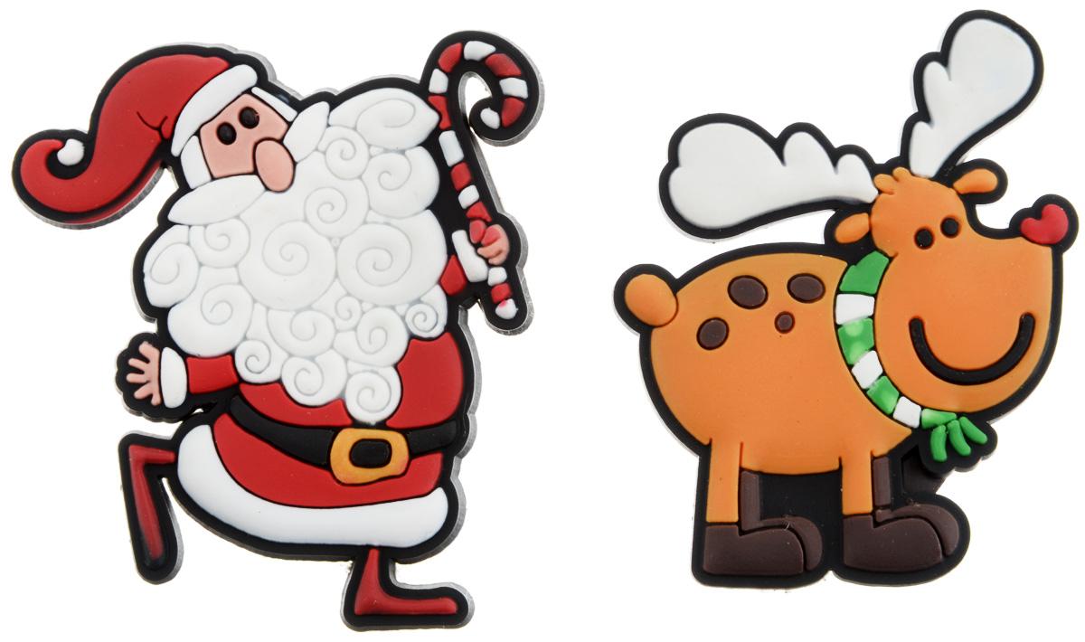 Магниты новогодние B&H Дед Мороз и олень, 2 штBH1077Магниты новогодние B&H Дед Мороз и олень помогут украсить дом к предстоящему празднику, а также разнообразить фотосессию, добавив в интерьер яркие краски. Набор включает 2 магнита, выполненных в виде главных новогодних символов: Деда Мороза и оленя. Благодаря магнитному основанию их можно прикрепить к металлической поверхности. Изделия выполнены из прочных и качественных материалов, поэтому прослужит вам в течение многих лет. Подарите себе и близким положительные эмоции и памятные мгновения с помощью декоративных магнитов.
