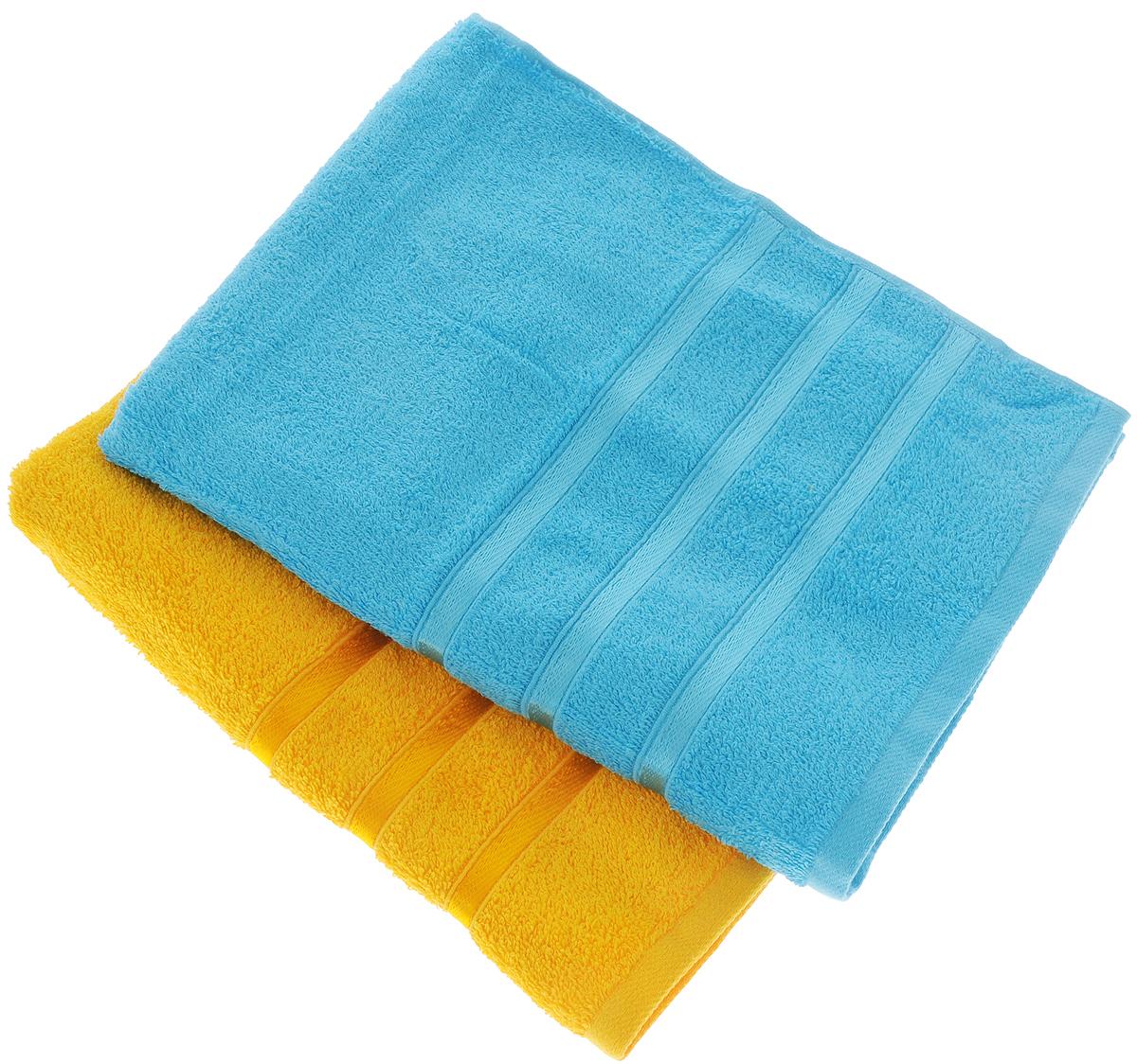 Набор полотенец Tete-a-Tete Ленты, цвет: желтый, бирюзовый, 50 х 85 см, 2 шт10503Набор Tete-a-Tete Ленты состоит из двух махровых полотенец, выполненных из натурального 100% хлопка. Бордюр полотенец декорирован лентами. Изделия мягкие, отлично впитывают влагу, быстро сохнут, сохраняют яркость цвета и не теряют форму даже после многократных стирок. Полотенца Tete-a-Tete Ленты очень практичны и неприхотливы в уходе. Они легко впишутся в любой интерьер благодаря своей нежной цветовой гамме. Набор упакован в красивую коробку и может послужить отличной идеей подарка.Размер полотенец: 50 х 85 см.