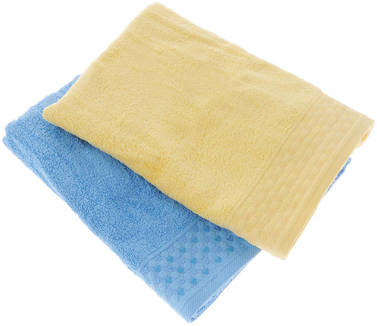 Набор полотенец Tete-a-Tete Сердечки, цвет: голубой, желтый, 50 х 90 см, 2 штУП-107-03-2кНабор Tete-a-Tete Сердечки состоит из двух махровых полотенец, выполненных из натурального 100% хлопка. Бордюр полотенец декорирован рисунком сердечек. Изделия мягкие, отлично впитывают влагу, быстро сохнут, сохраняют яркость цвета и не теряют форму даже после многократных стирок. Полотенца Tete-a-Tete Сердечки очень практичны и неприхотливы в уходе. Они легко впишутся в любой интерьер благодаря своей нежной цветовой гамме. Набор упакован в красивую коробку и может послужить отличной идеей для подарка. Размер полотенец: 50 х 90 см.