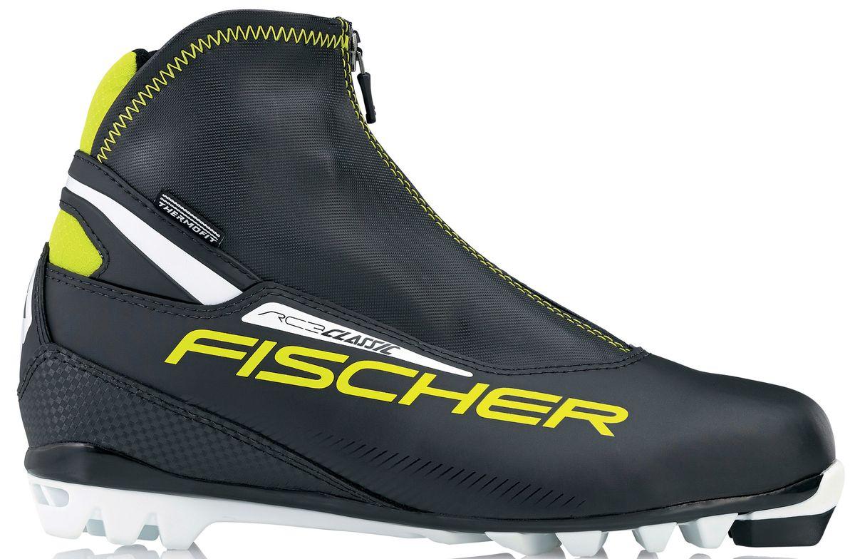 Ботинки лыжные мужские Fischer RC3 Classic, цвет: черный, желтый, белый. S17215. Размер 46Karjala Comfort NNNБотинки лыжные беговые Fischer RC3 Classic - это удобные и легкие классические ботинки для лыжных прогулок. Подошва T4 обеспечивает облегченное отталкивание и безопасность при ходьбе, двухслойная концепция защищает от холода и влаги.ТЕХНОЛОГИИ:SPORT FIT CONCEPTДля каждой целевой группы разработан свой тип колодки, который обеспечивает наилучший комфорт при катании и максимальную передачу энергии. INTERNAL MOLDED HEEL CAPВнутренняя пластиковая вставка анатомической формы в пяточной части очень легкая и термоформируемая.FISCHER SPEED LOCKСистема быстрой застежки для профессиональной экипировки. Надежное держание и простота использования.THERMO FITТермоформируемый материал внутреннего ботинка обладает прекрасными изоляционными свойствами и легко адаптируется по ноге. LACE COVERДополнительная защита шнуровки предотвращает проникновение влаги и холода. CLEANSPORT NXTСпециальная пропитка подкладки и стелек ботинок. Система из полезных микробов, которые устраняют неприятный запах. COMFORT GUARDОчень легкий, водоотталкивающий изоляционный материал дополнительно защищает от холода мысок и переднюю часть стопы.