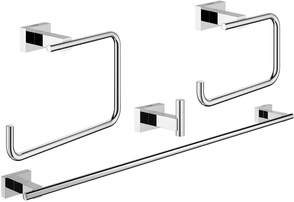 Набор аксессуаров для ванной комнаты Grohe Essentials Cube, 4 предмета40778001Набор аксессуаров для ванной комнаты Grohe Essentials Cube включает держатель для банного полотенца, крючок для банного халата, держатель для туалетной бумаги и кольцо для полотенца. Изделия выполнены из латуни с хромированным покрытием. Благодаря специальной технологии Grohe StarLight покрытие обеспечивает сияющий блеск на протяжении всего срока службы. Кроме того, оно отталкивает грязь, не тускнеет и обладает высокой степенью износостойкости. Все предметы крепятся к стене (крепежные элементы поставляются в комплекте). Благодаря неизменно актуальному дизайну и долговечному хромированному покрытию, такой набор отлично дополнит интерьер ванной комнаты, воплощая собой изысканный стиль и превосходное качество. Размер кольца для полотенца: 19 х 6 х 12 см. Размер держателя для туалетной бумаги: 14 х 6 х 10 см. Размер крючка: 4 х 6 х 4,5 см. Длина держателя для банного полотенца: 60 см.