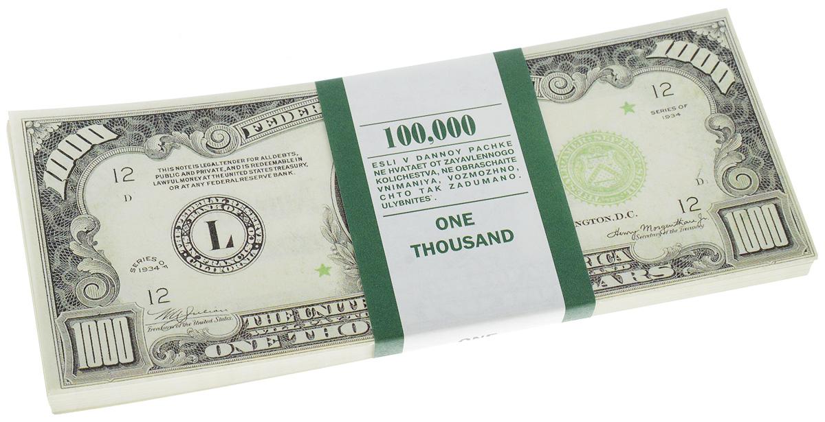 Сувенирные деньги Эврика Забавная пачка 1000 долларовUP210DFСувенирные деньги Эврика Забавная пачка 1000 долларов наверняка удивит, а потом рассмешит каждого человека с хорошим чувством юмора! Сувенирные деньги подходят для выкупа невесты - это то, что нужно, ведь они имеют банковскую ленту и выполнены в отличном качестве печати. Внимательный человек, правда, вас сразу рассекретит, так как на купюрах есть надпись: Не является платежным средством. Не рекомендуем демонстративно показывать пачку муляжных денег в местах большого скопления людей, чтоб не привлечь к себе внимание людей с сомнительной репутацией. Также не стоит дарить сувенирные деньги сотрудниками ГАИ и налоговой инспекцией, они ведь тоже люди.Размер одной купюры: 6 х 15,1 см.Количество листов в пачке не нормировано, в пачке от 80 до 100 купюр.