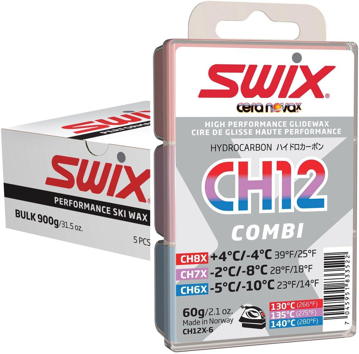 Набор мазей скольжения Swix CH12X Combi Nordic: CH4X, CH6X, CH7X, CH8X, CH10X, по 180 гKarjala Comfort NNNСодержит: 2 x 180 г CHX5, 1 x 180 гCHX6, CHX7 и CHX8.CH05X-6Температурный диапазон от -8°C до-14°С.Рекомендуемая температура утюга 150°С.Серия 5 является новой в линии Cera Nova X, и заполняет разрыв по твердости между 4-й и 6-й категориями мазей. Легче наносится, чем мази 4й серии, и обеспечивает прекрасные свойства скольжения в пределах своего темпера турного диапазона. Обладает высокой износоустойчивостью. Может использоваться самостоятельно в качестве гоночной мази, но чаще всего служит базовым слоем под порошок FC05X.CH06X-6Температурный диапазон от -5°C до-10°С.Рекомендуемая температура утюга 145°С.Стандартная мазь CH6 была успешной в старой системе Cera Nova, и продолжила свое существование в мази CH06X новой системы. Бюджетная мазь для гонок и тренировок с прекрасными рабочими характеристиками. Также может использоваться в качестве мази для базовой подготовки холодных лыж. CH06X имеет высокую износоустойчивость и показывает прекрасные рабочие характеристики на искусственному снегу и в условиях ледника.CH07X-6Температурный диапазон от -2°C до -8°С.Рекомендуемая температура утюга 140°С.Новая и улучшенная мазь, универсальная, подходит для нормальных зимних кондиций ниже точки замерзания. Твердая концистенция этой мази делает ее удобной в работе по нанесению на скользящую поверхность для того, чтобы получить хороший конечный результат. Бюджетная мазь для гонок и тренировок с прекрасными рабочими характеристиками. Также может использоваться в качестве универсальной мази для базовой подготовки.CH08X-6Температурный диапазон от +4°C до-4°С.Рекомендуемая температура утюга 130°С.Продолжение стандартной мази CH8. Бюджетная мазь для гонок и тренировок с прекрасными рабочими характеристиками. Также может использоваться в качестве мази для базовой подготовки теплых лыж. отличная мазь как для базовой подготовки лыж, так и для тренировок. Легко плавится и удобна в работ
